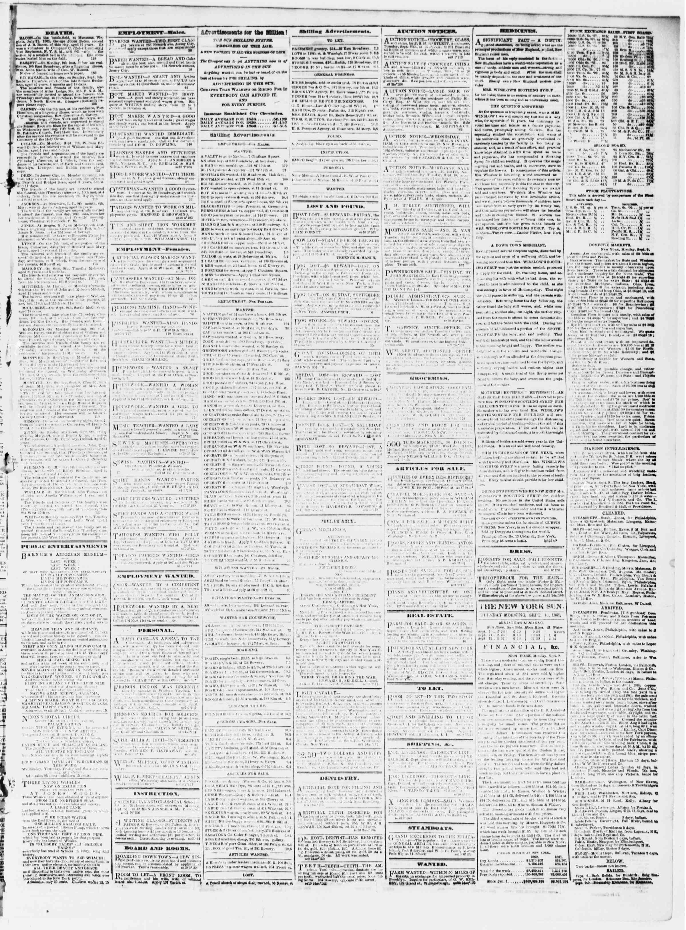 Newspaper of The Sun dated September 10, 1861 Page 3