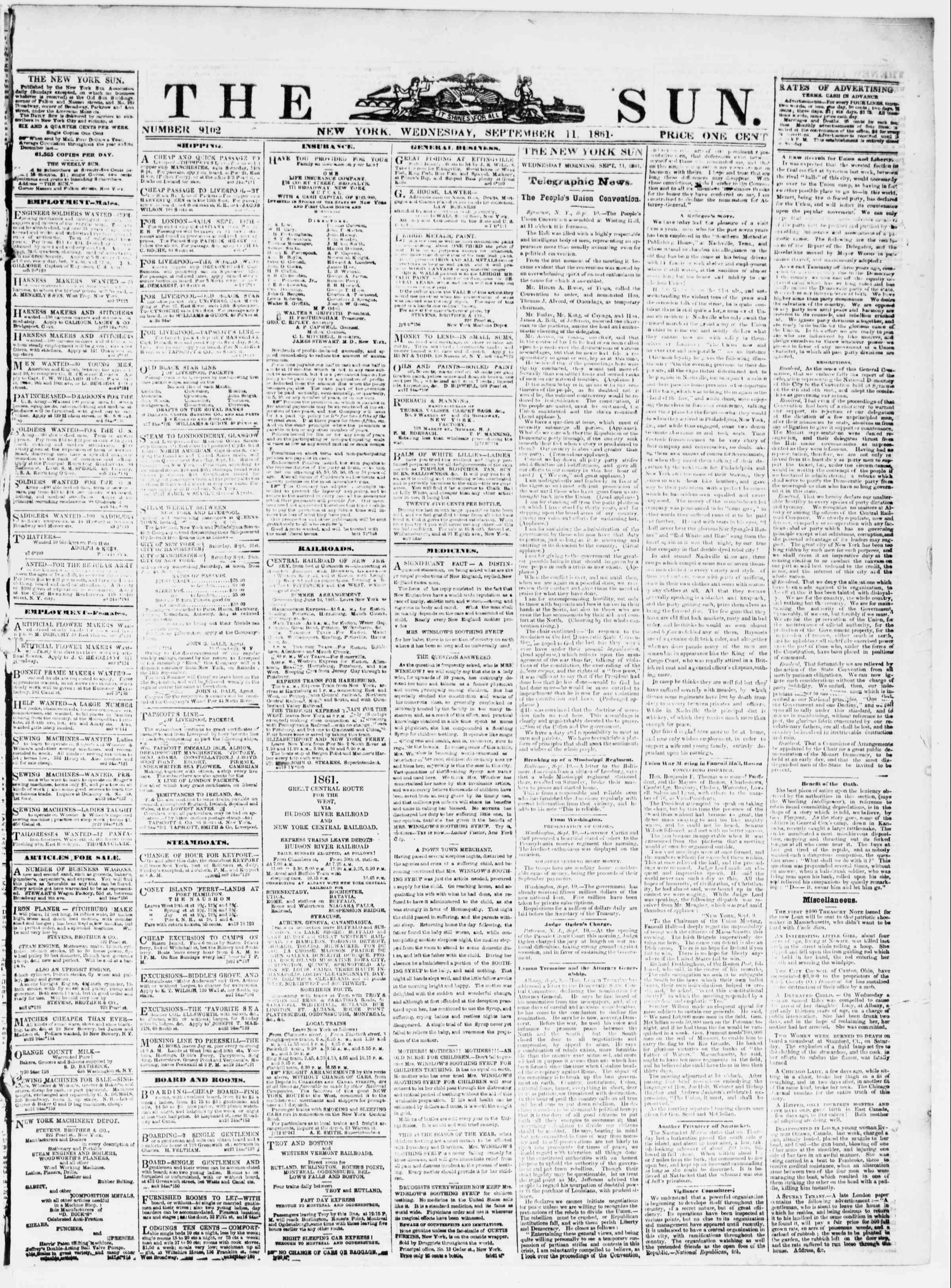 Newspaper of The Sun dated September 11, 1861 Page 1