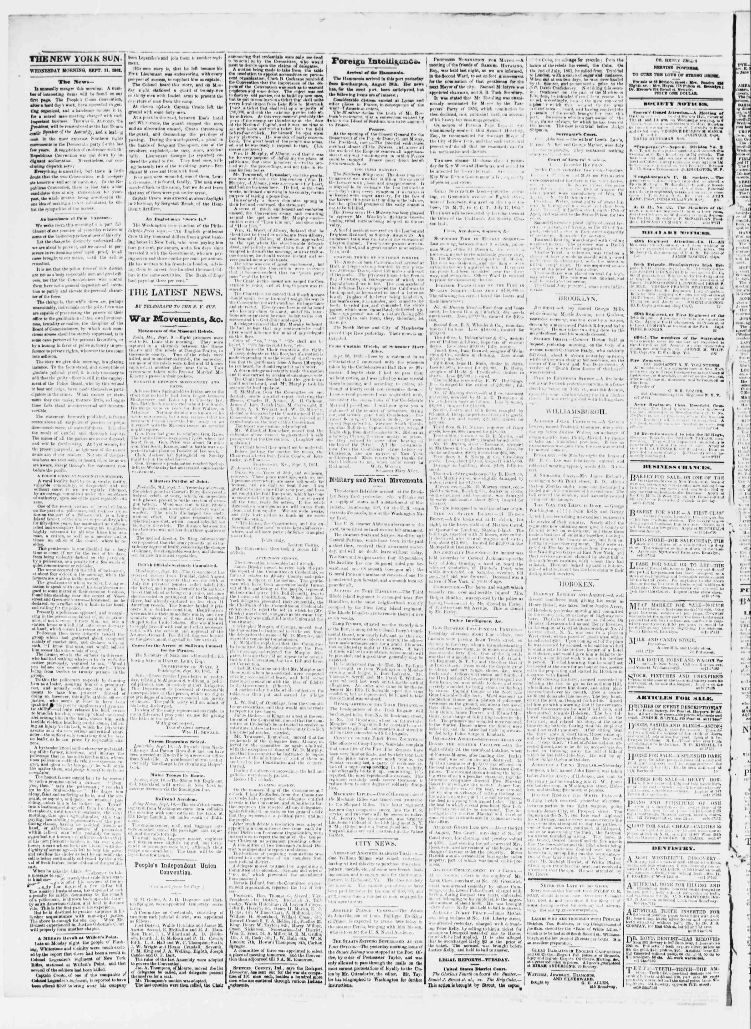 Newspaper of The Sun dated September 11, 1861 Page 2