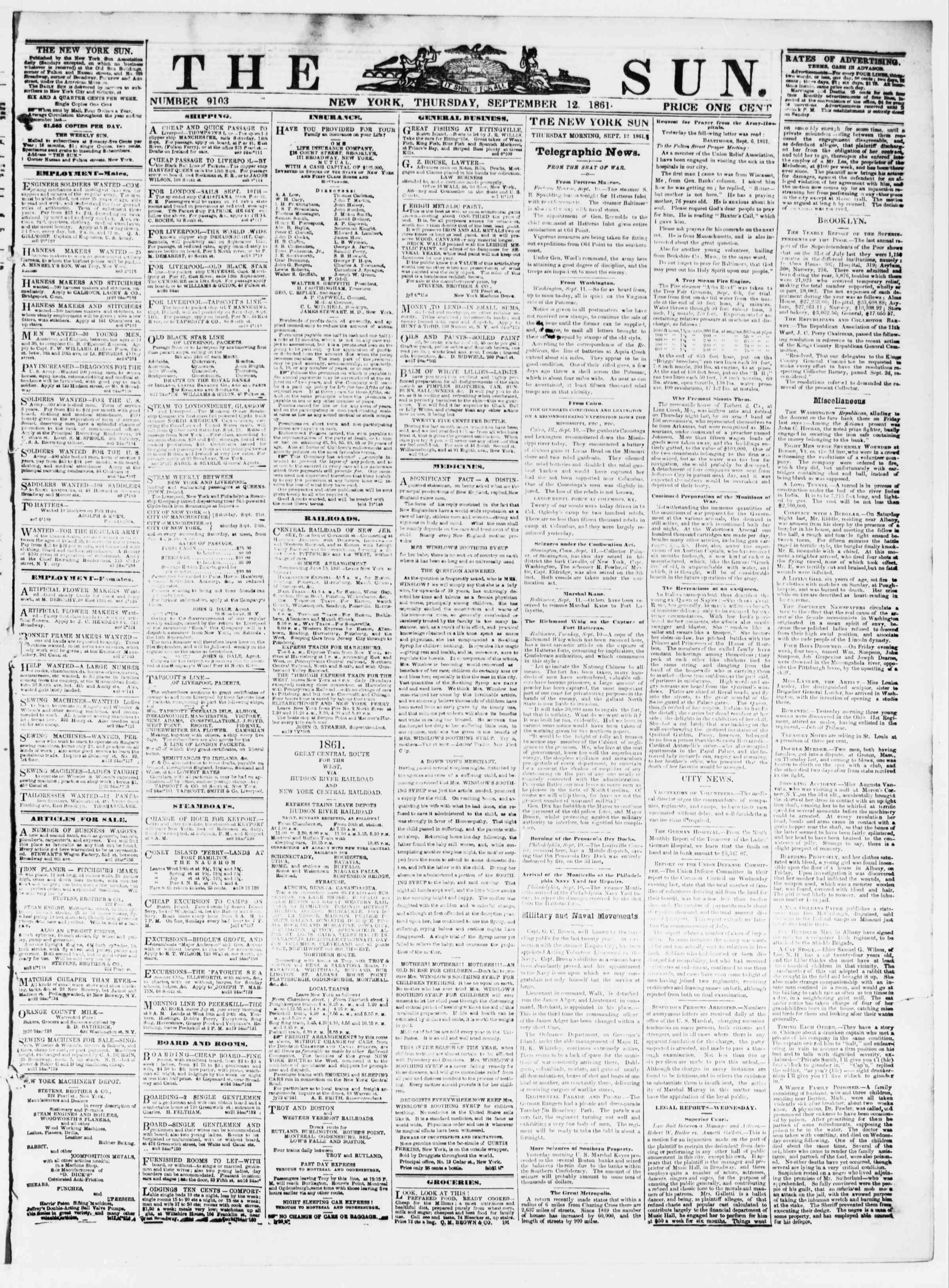 Newspaper of The Sun dated September 12, 1861 Page 1
