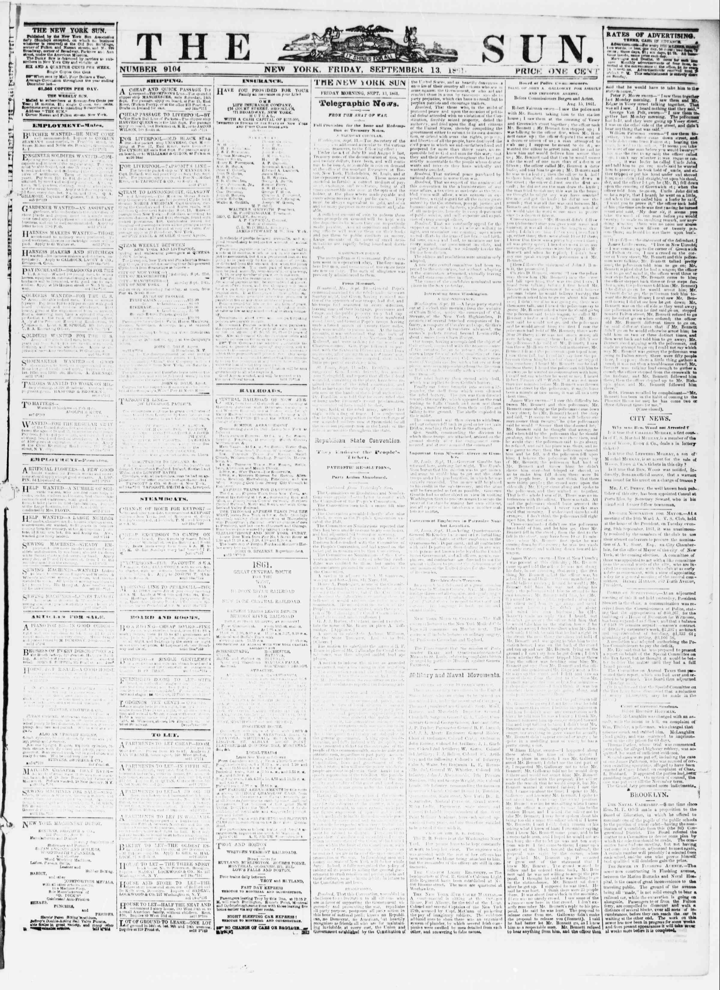 Newspaper of The Sun dated September 13, 1861 Page 1