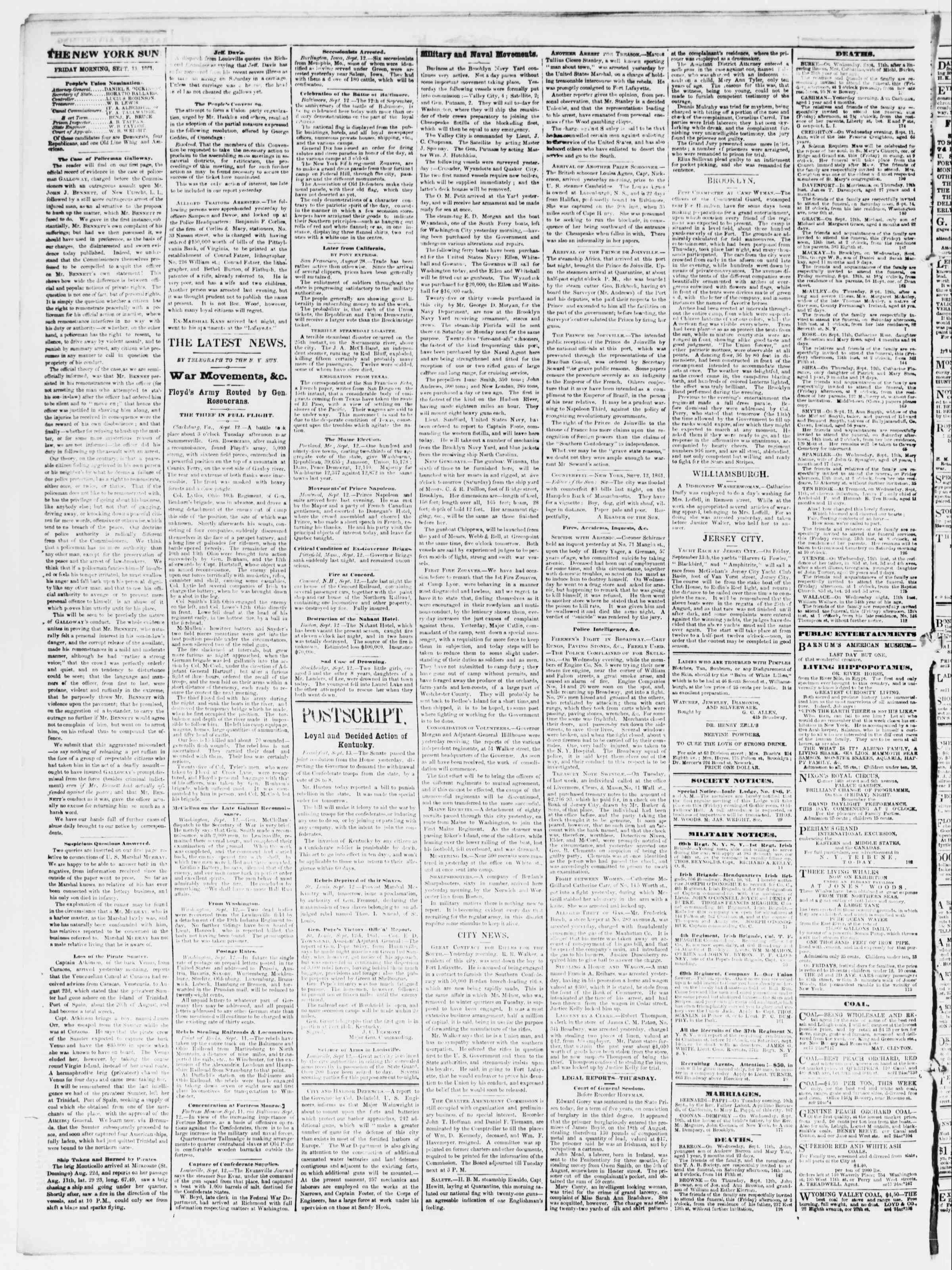 Newspaper of The Sun dated September 13, 1861 Page 2