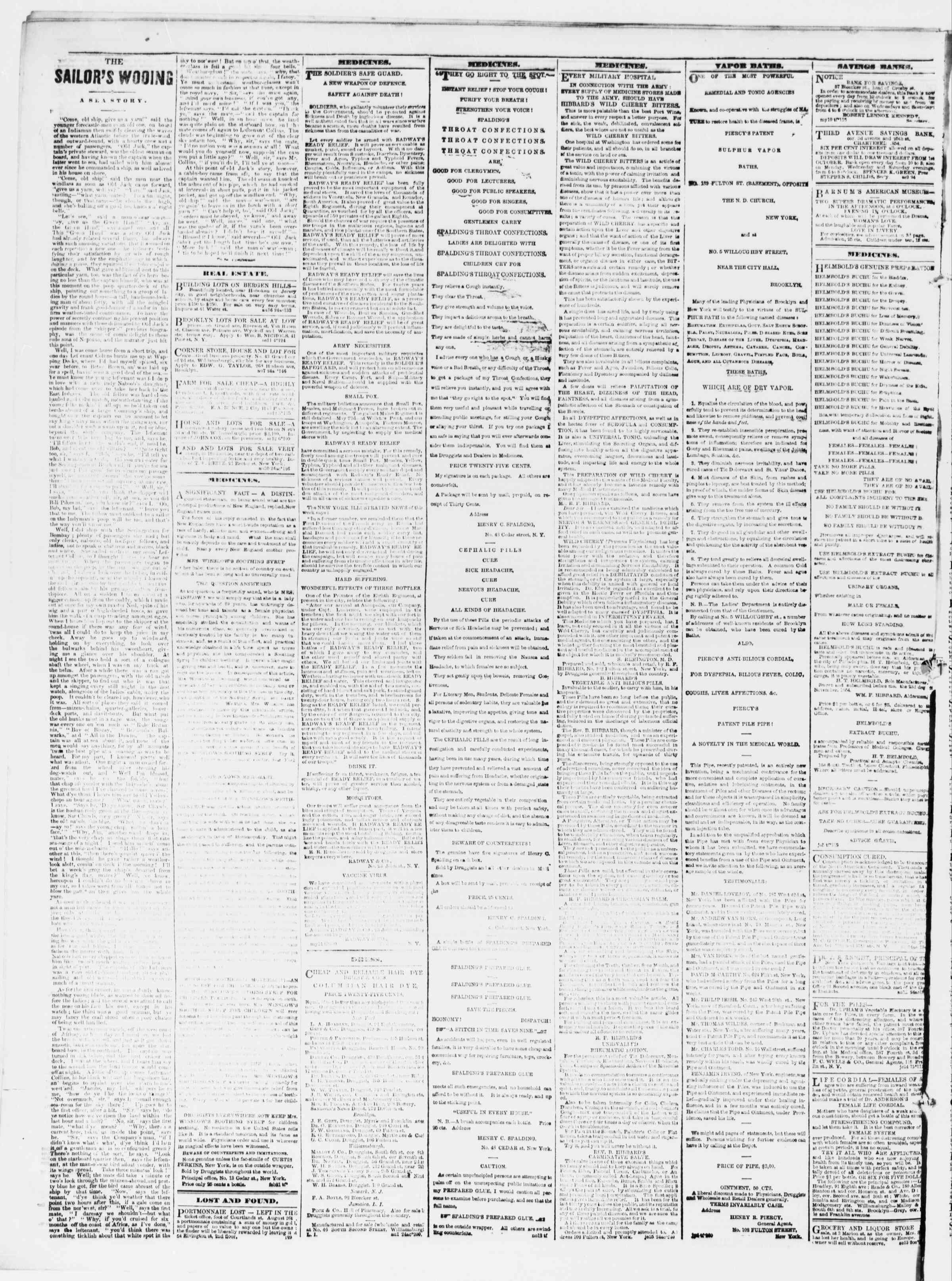 Newspaper of The Sun dated September 13, 1861 Page 4