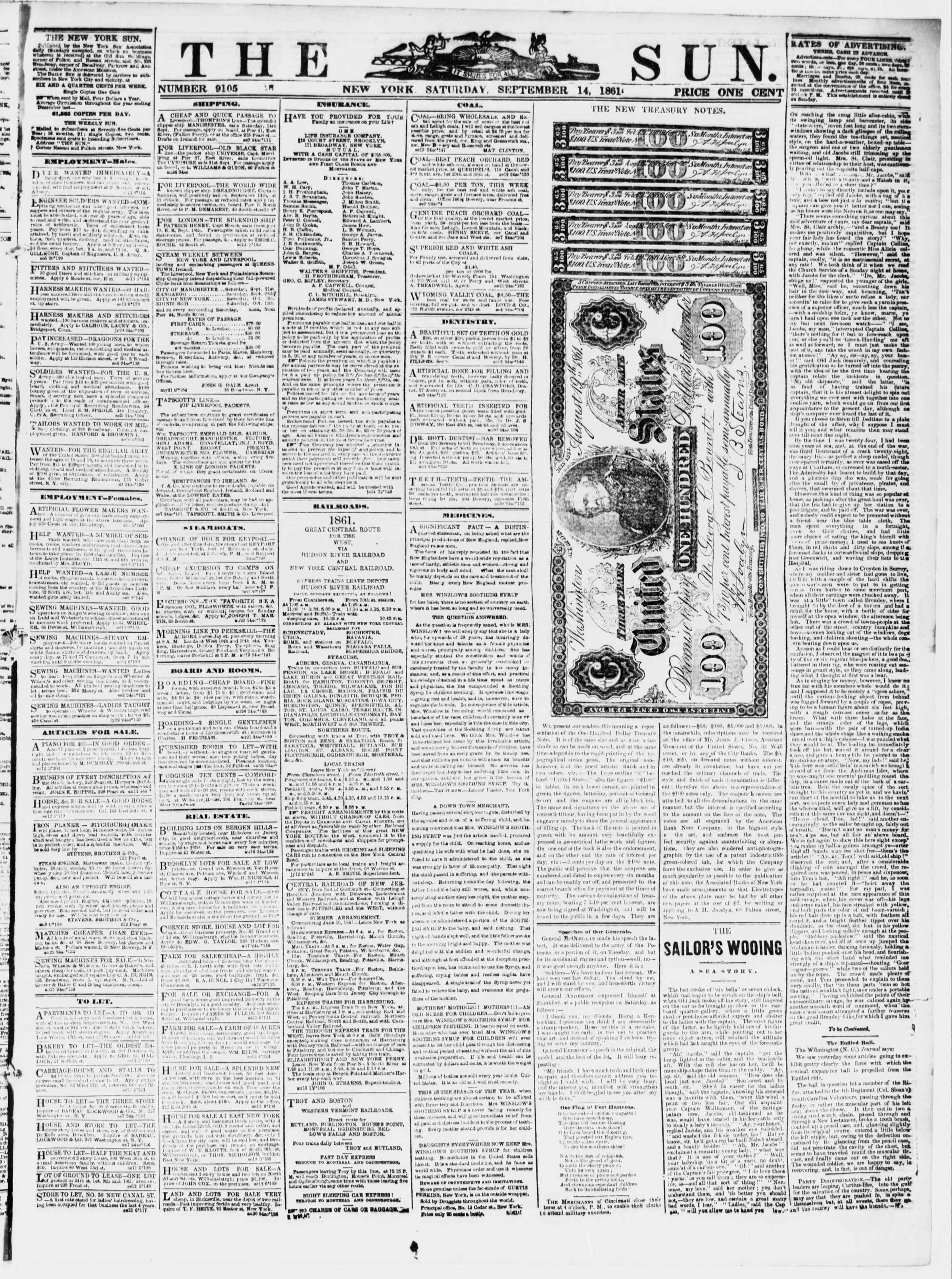 Newspaper of The Sun dated September 14, 1861 Page 1