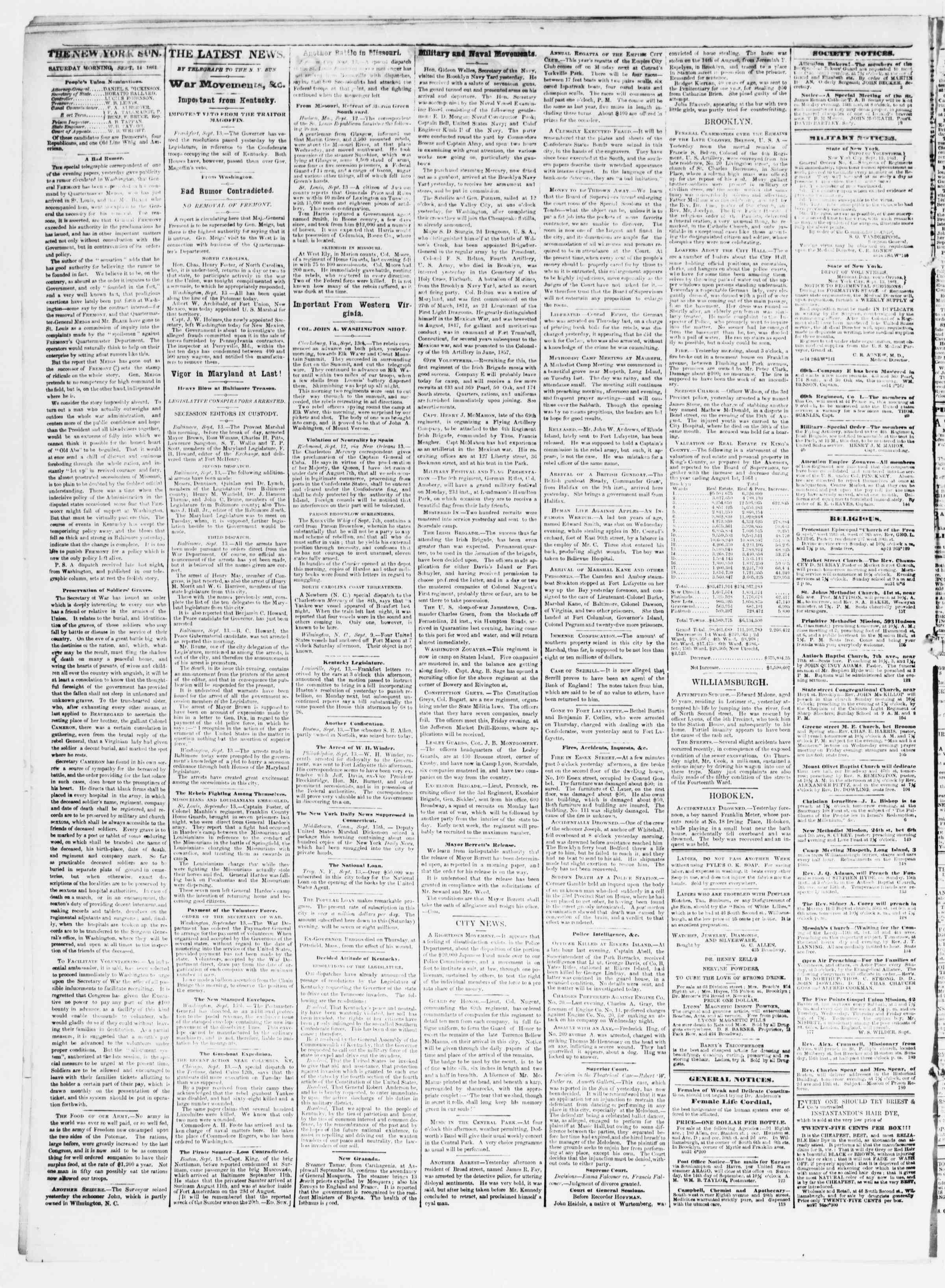 Newspaper of The Sun dated September 14, 1861 Page 2