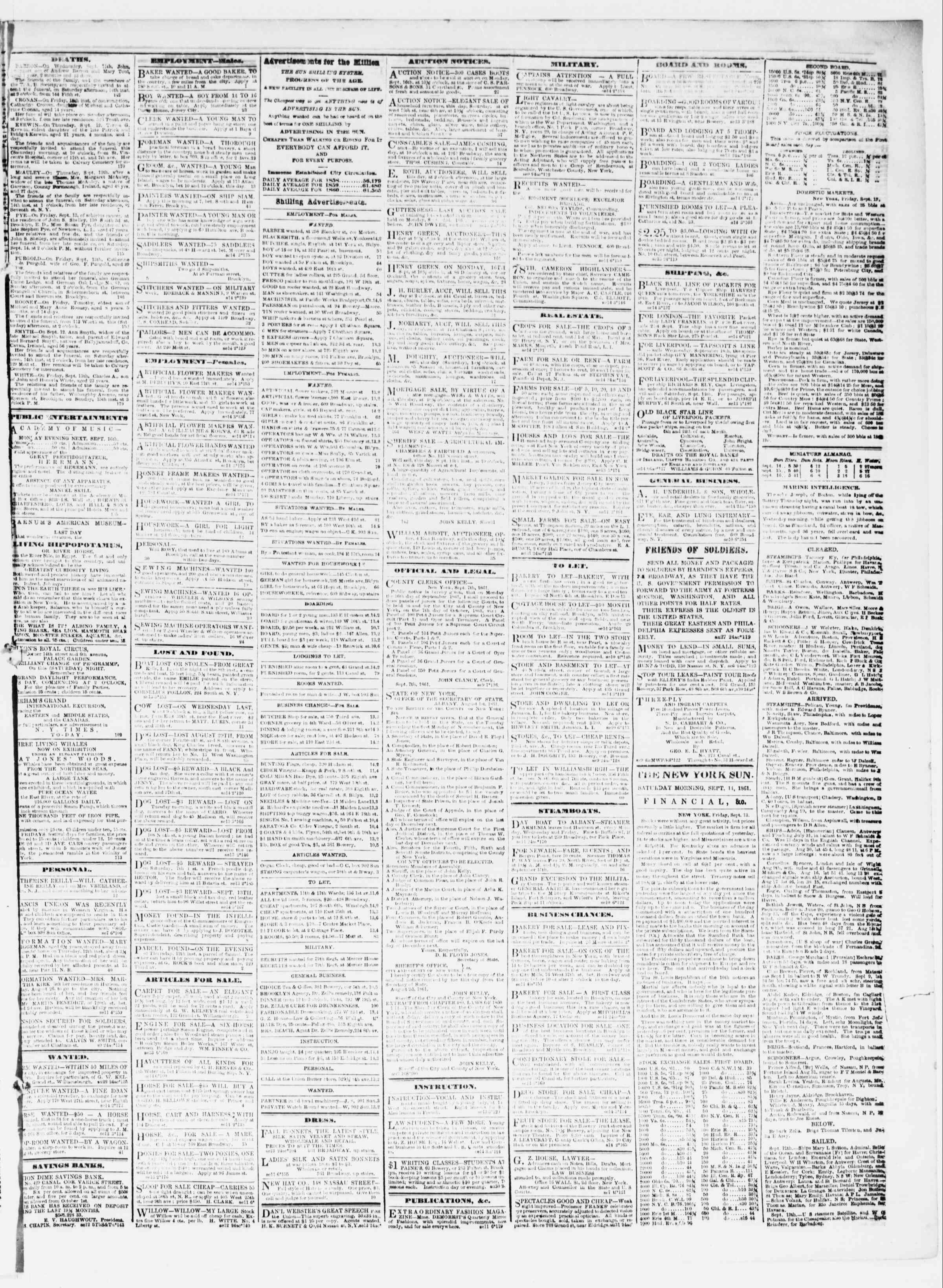 14 Eylül 1861 tarihli The Sun Gazetesi Sayfa 3