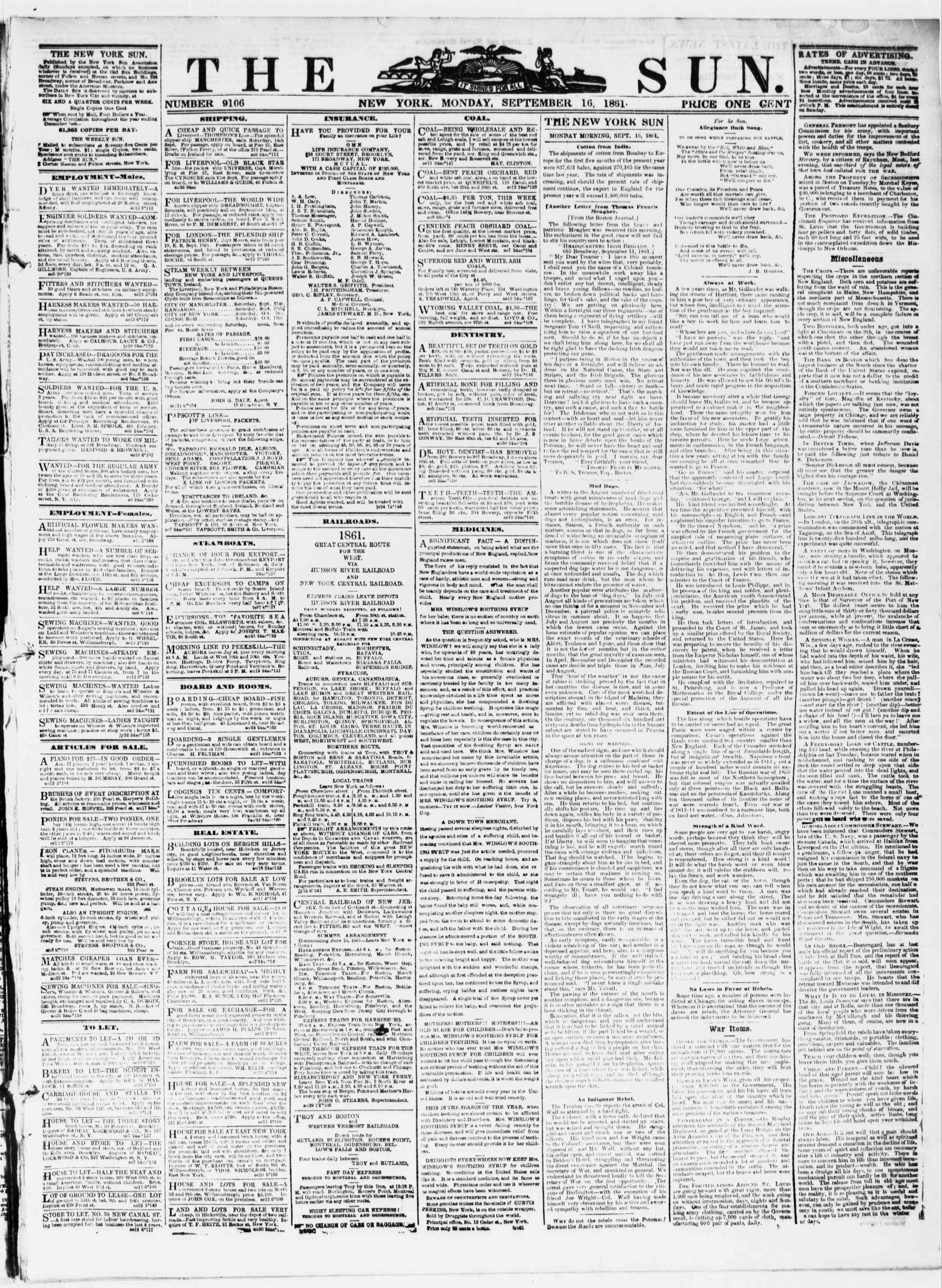 Newspaper of The Sun dated September 16, 1861 Page 1