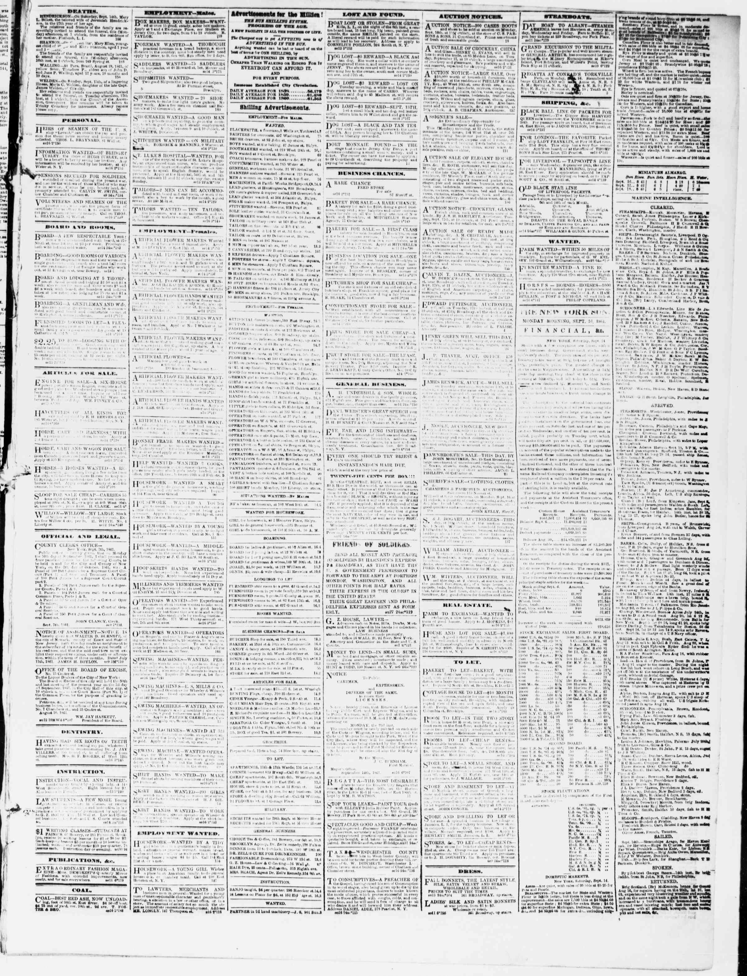 Newspaper of The Sun dated September 16, 1861 Page 3