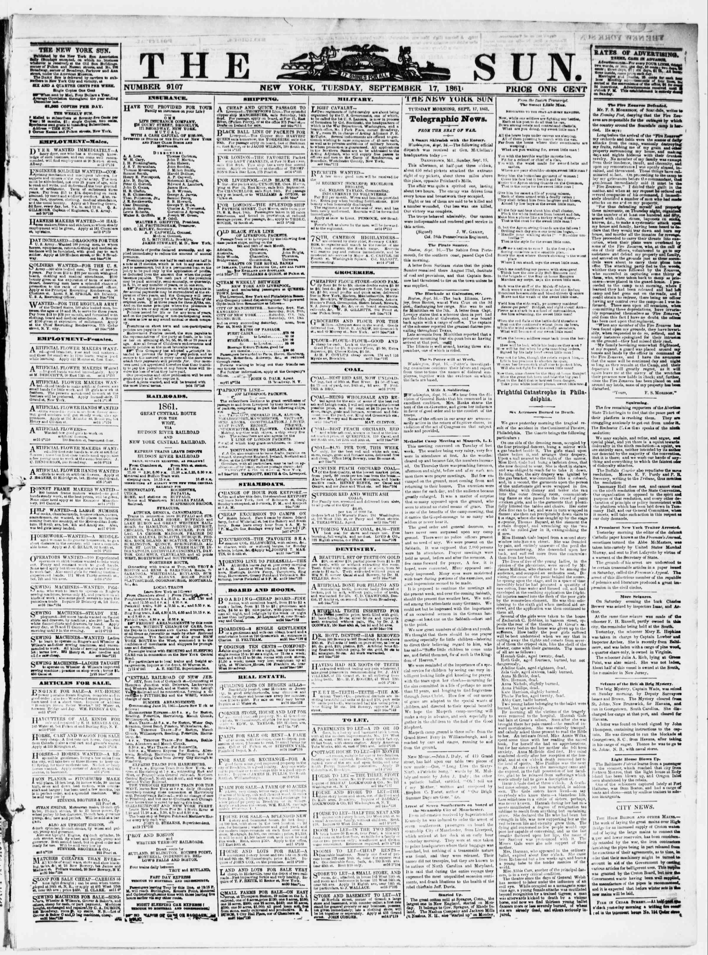 Newspaper of The Sun dated September 17, 1861 Page 1