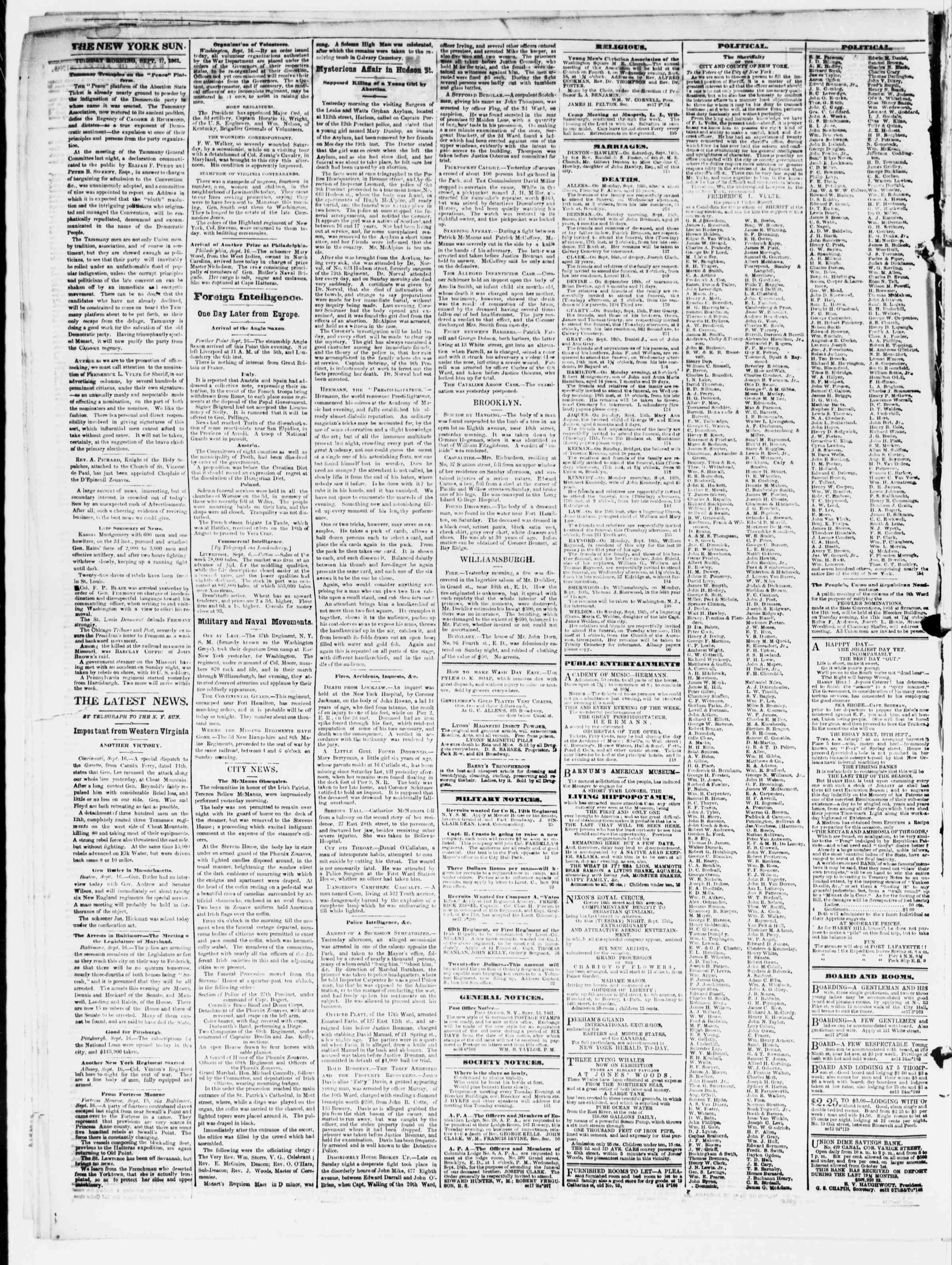 Newspaper of The Sun dated September 17, 1861 Page 2