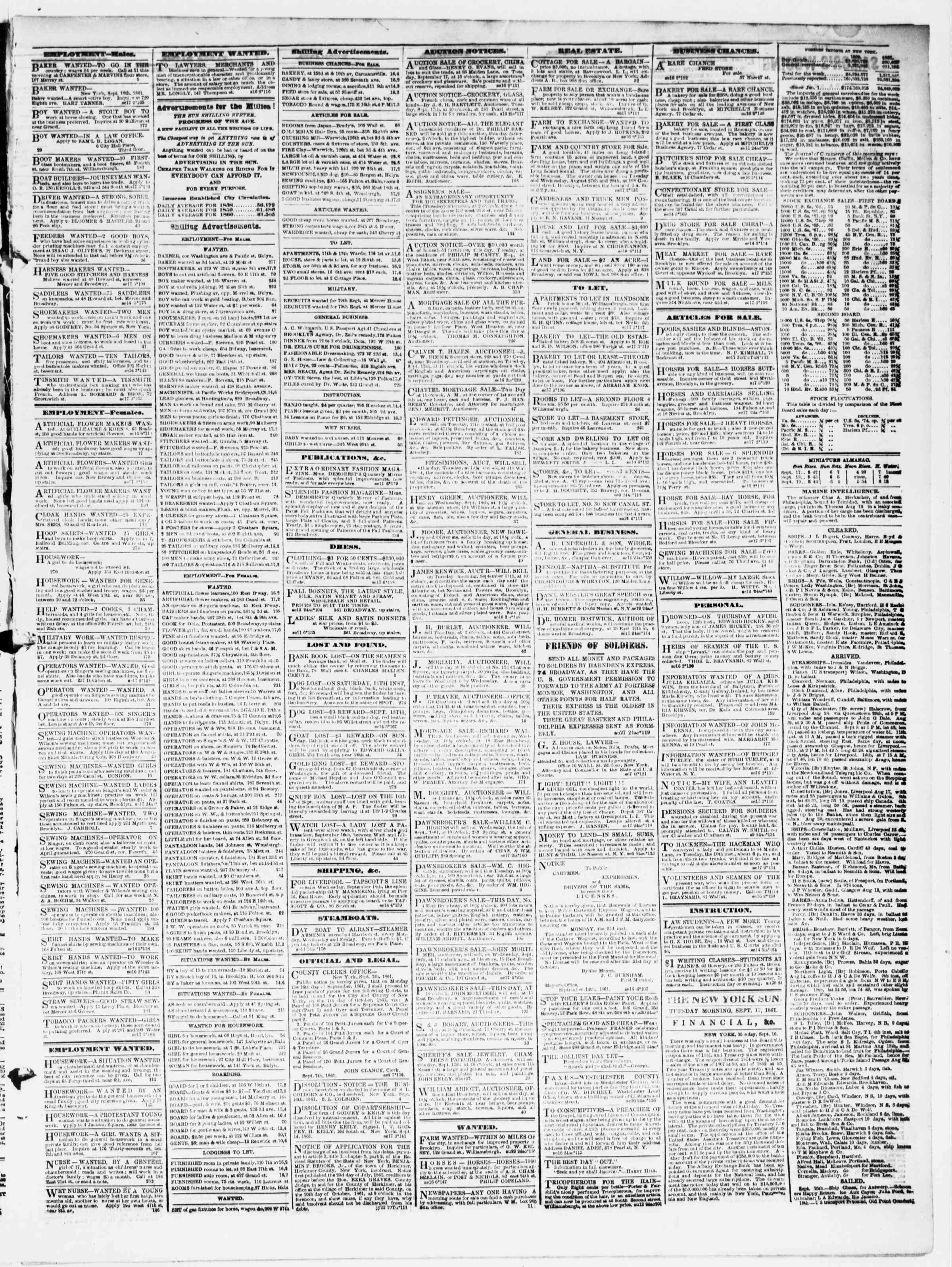 Newspaper of The Sun dated September 17, 1861 Page 3
