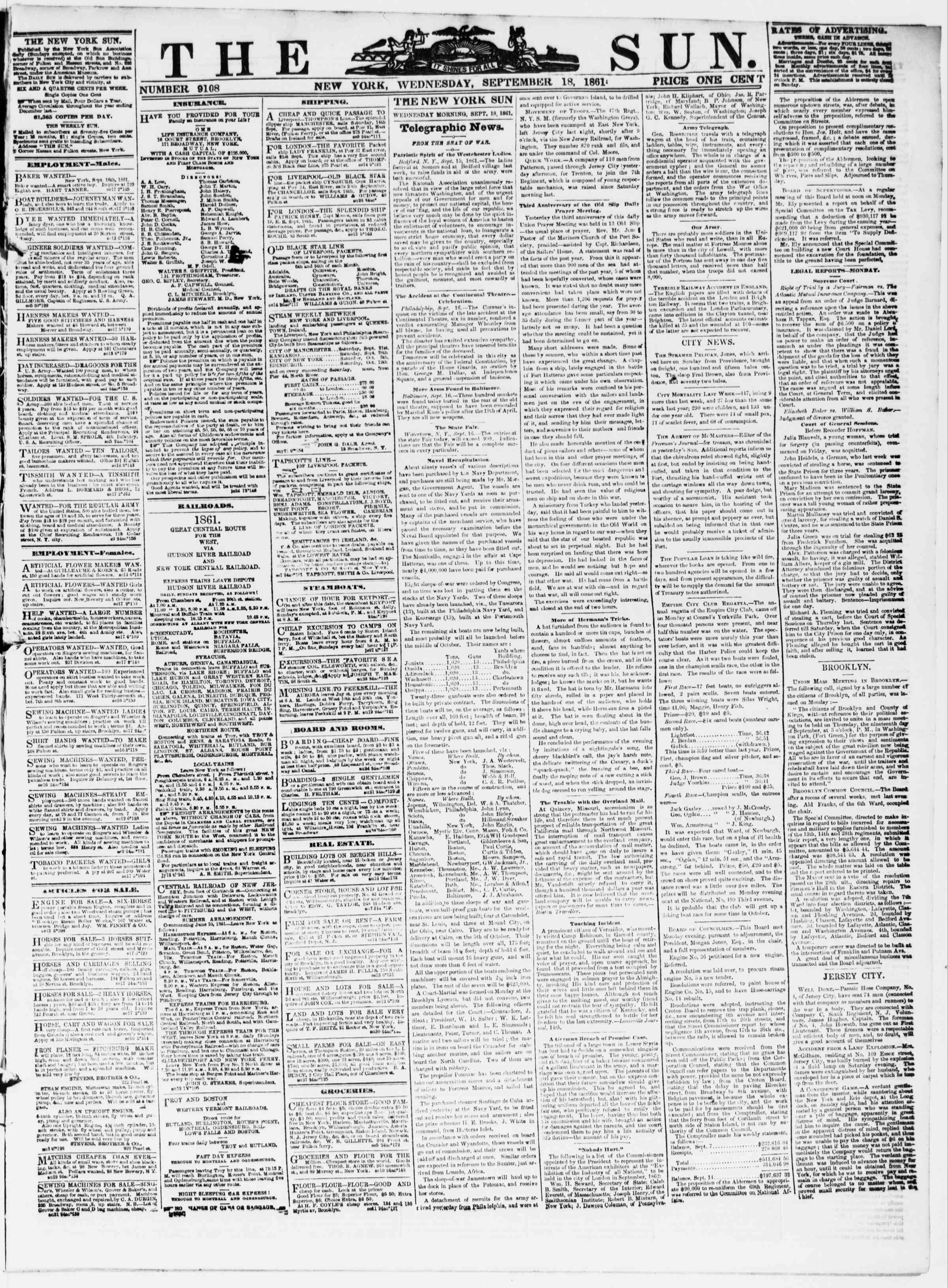 Newspaper of The Sun dated September 18, 1861 Page 1