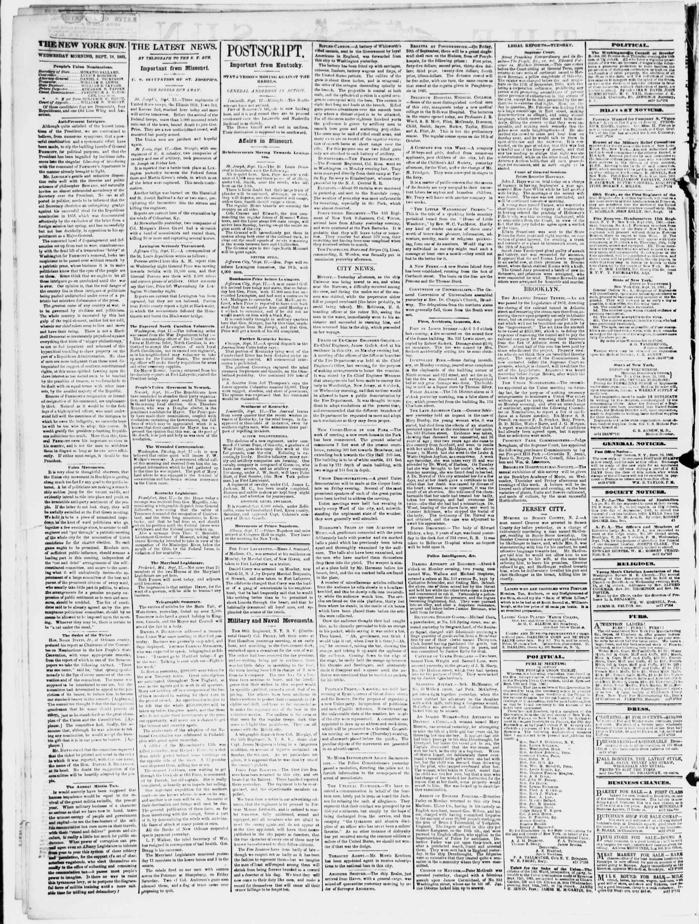 Newspaper of The Sun dated September 18, 1861 Page 2