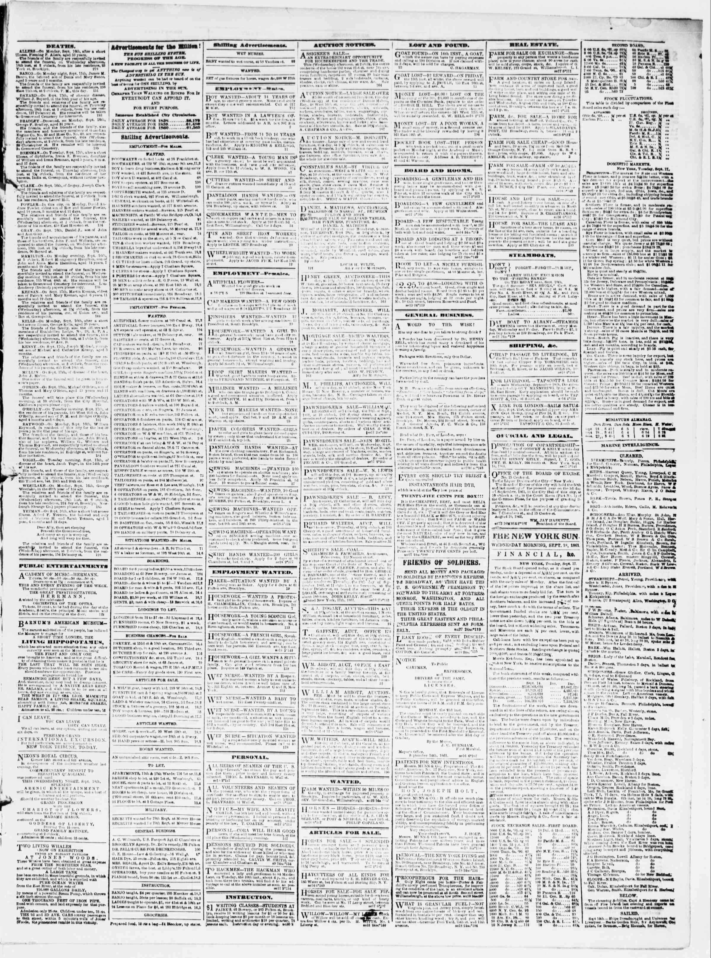 Newspaper of The Sun dated September 18, 1861 Page 3