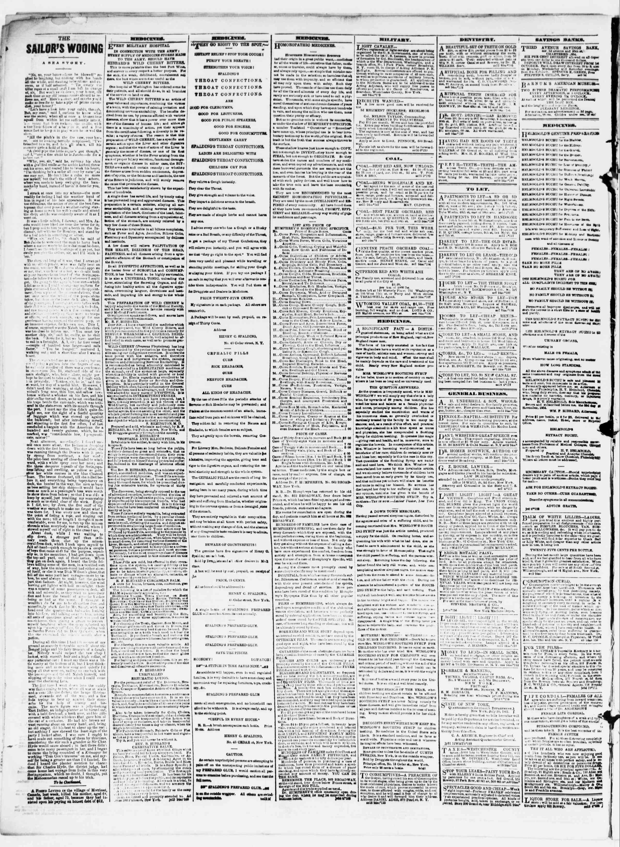 Newspaper of The Sun dated September 18, 1861 Page 4