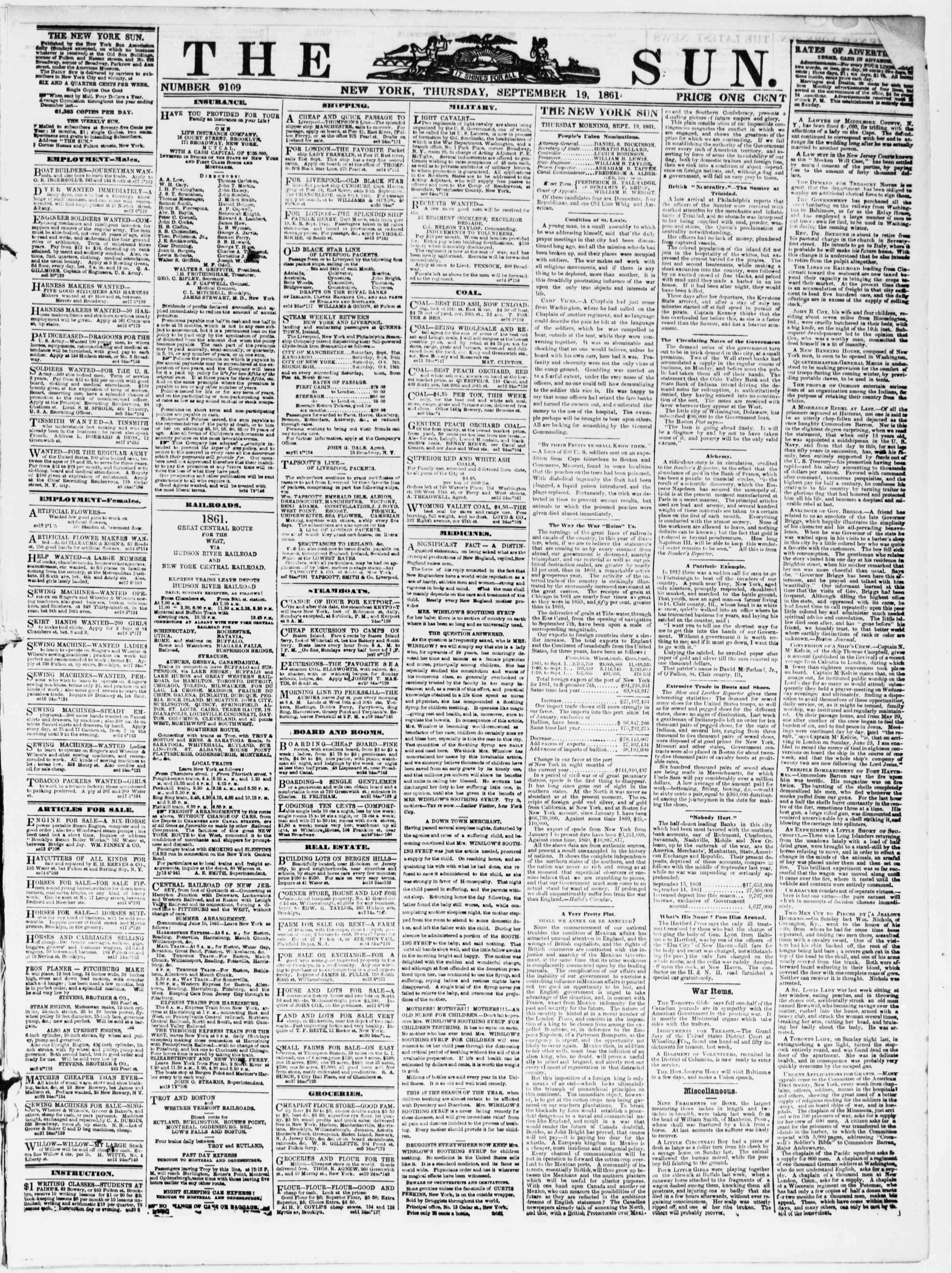 Newspaper of The Sun dated September 19, 1861 Page 1