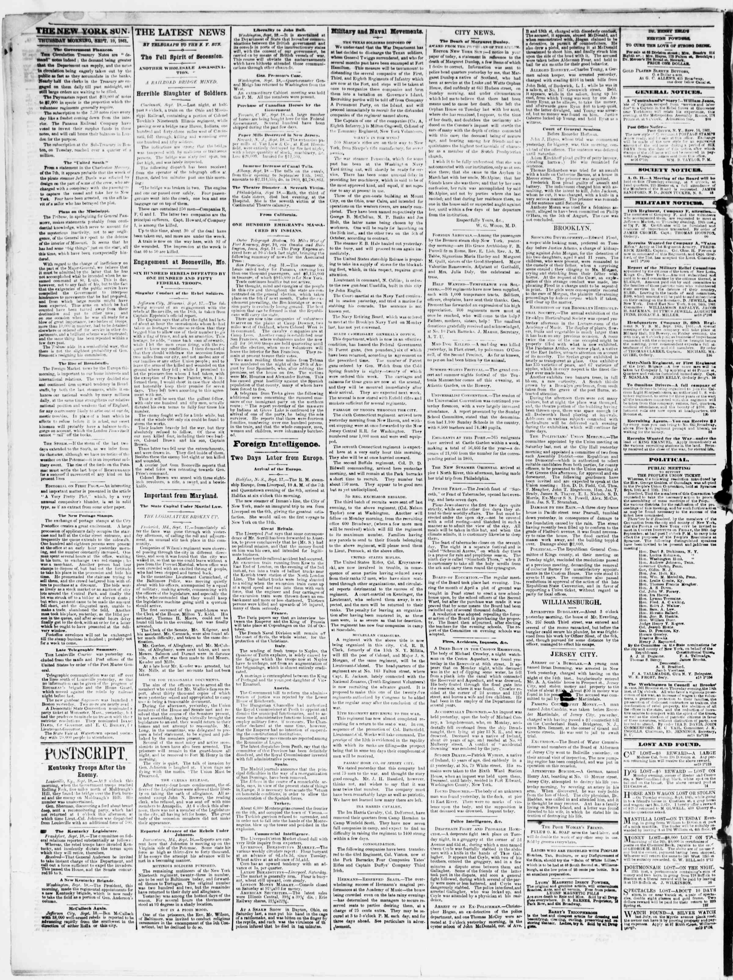 Newspaper of The Sun dated September 19, 1861 Page 2