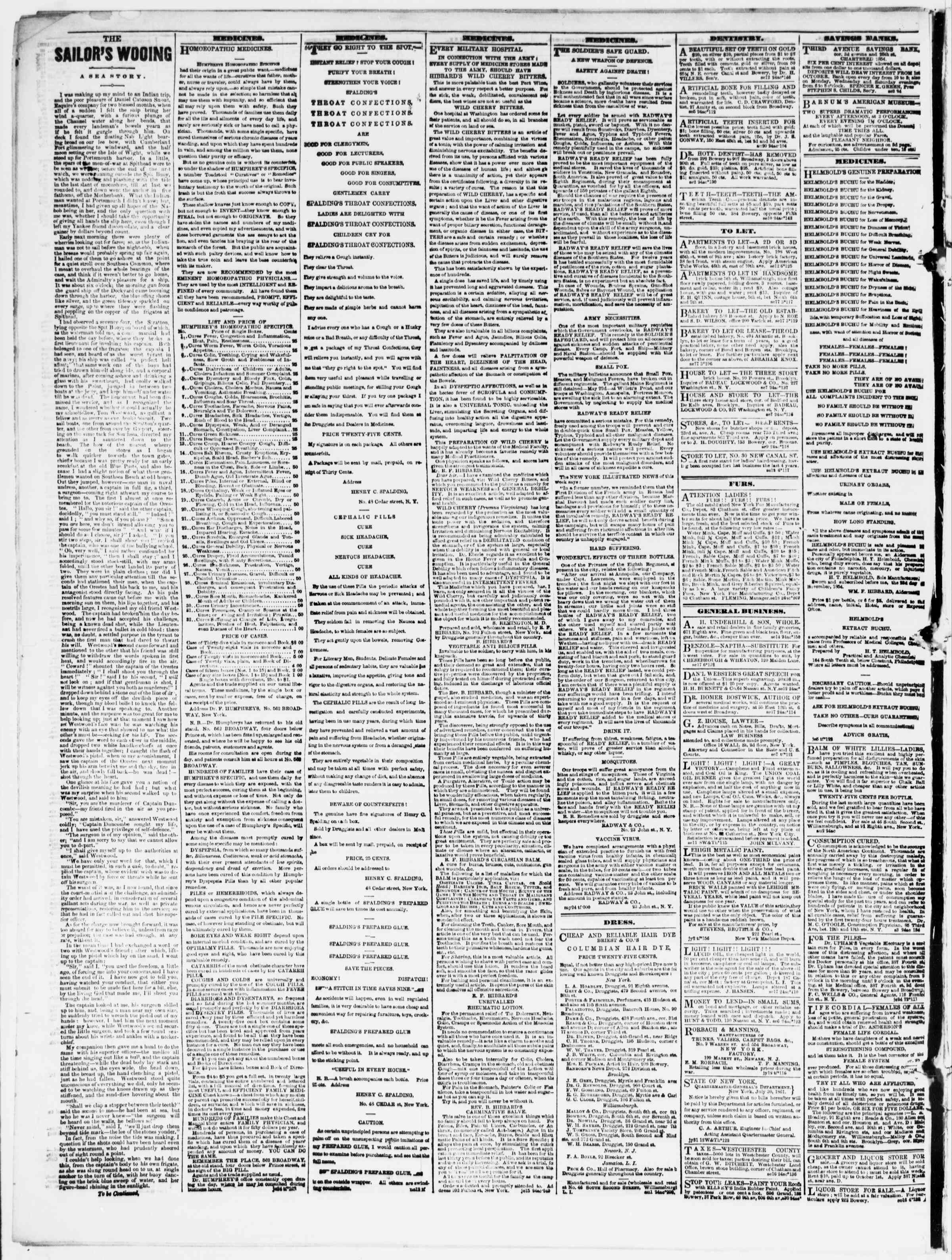 Newspaper of The Sun dated September 19, 1861 Page 4