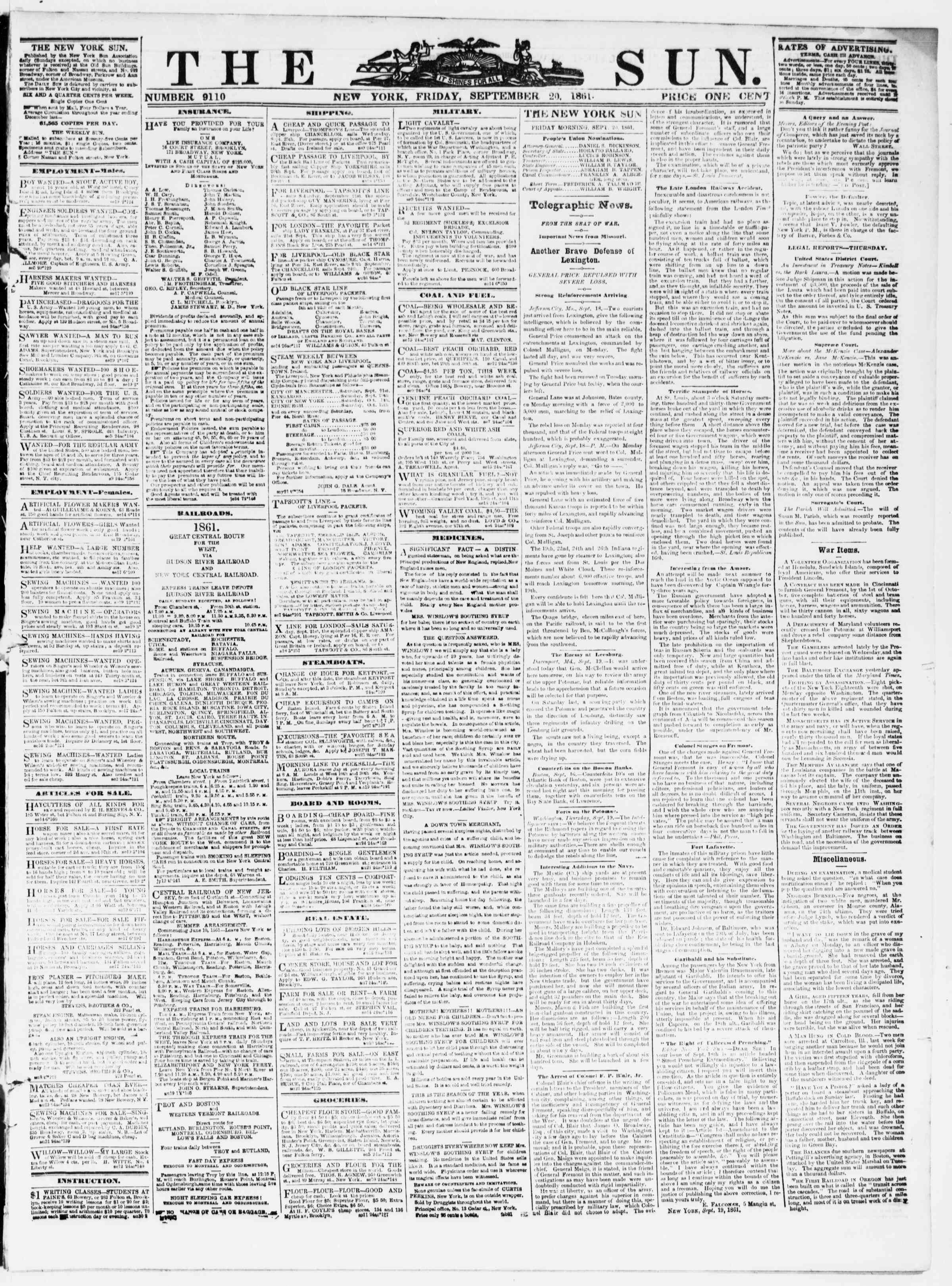 Newspaper of The Sun dated September 20, 1861 Page 1