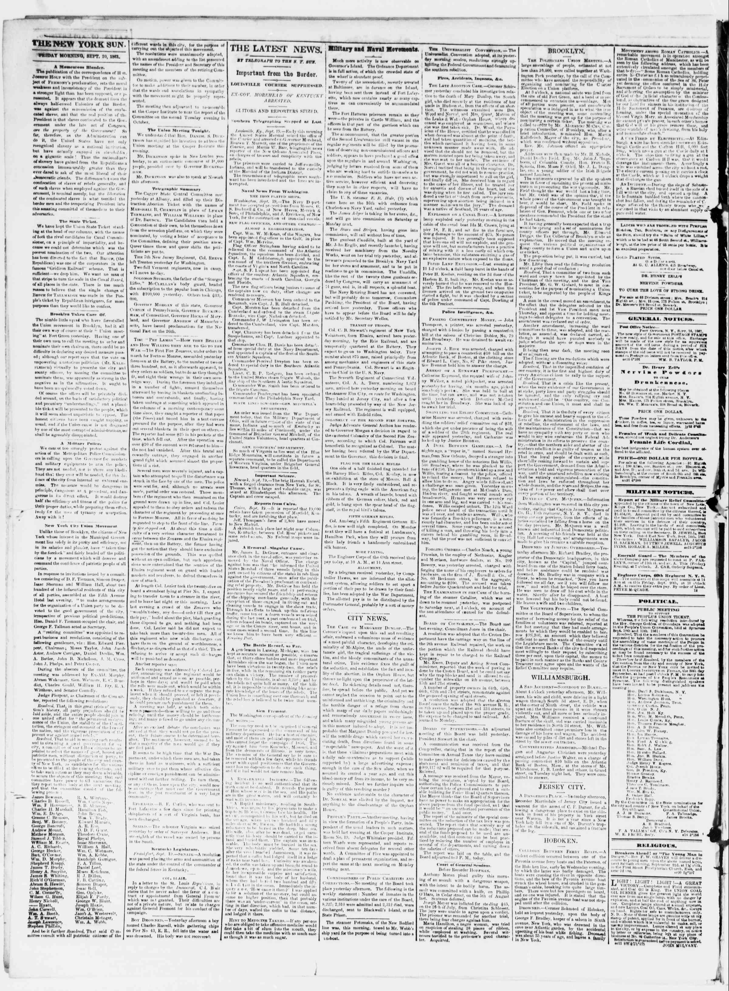 Newspaper of The Sun dated September 20, 1861 Page 2