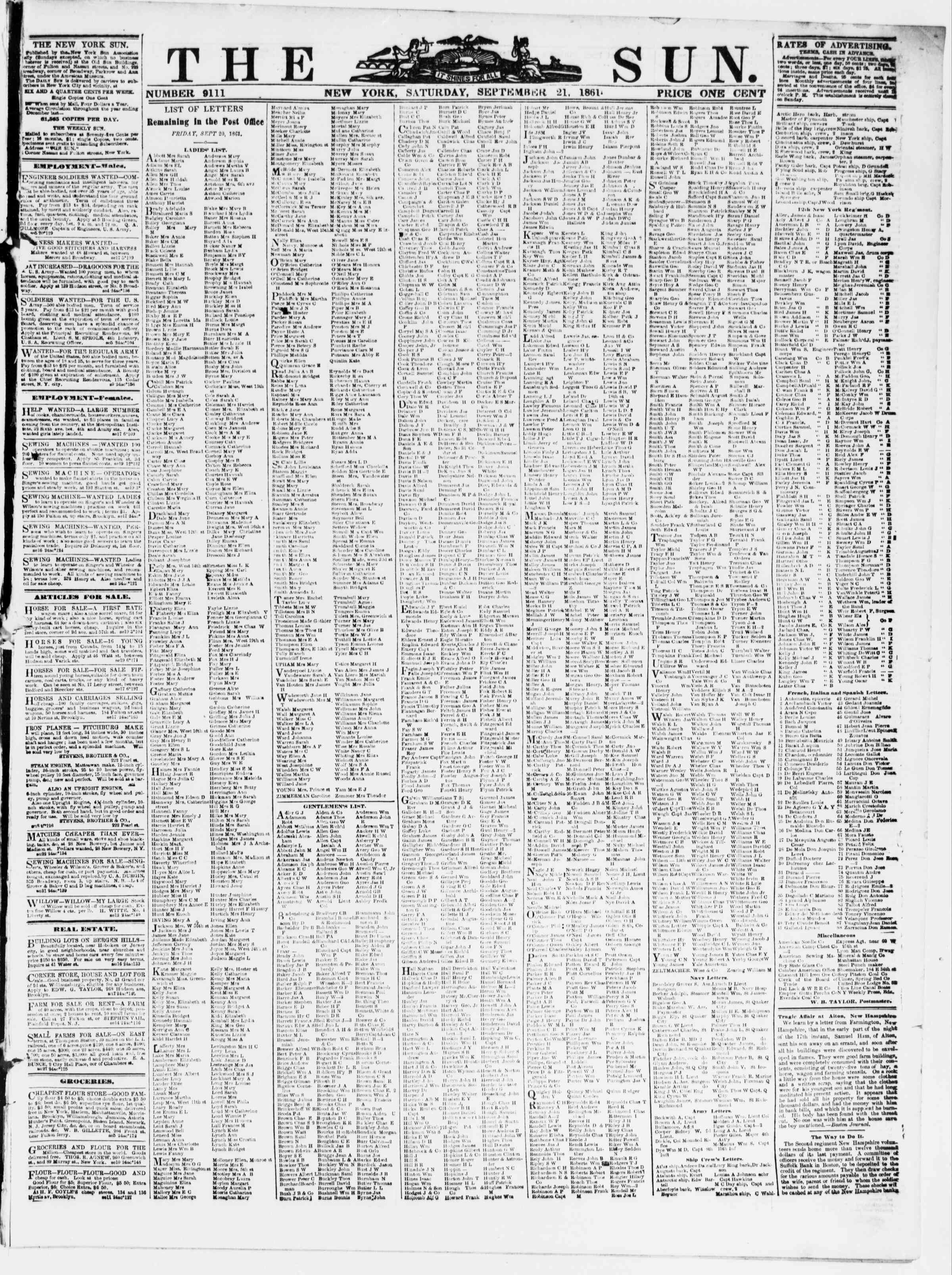 Newspaper of The Sun dated September 21, 1861 Page 1