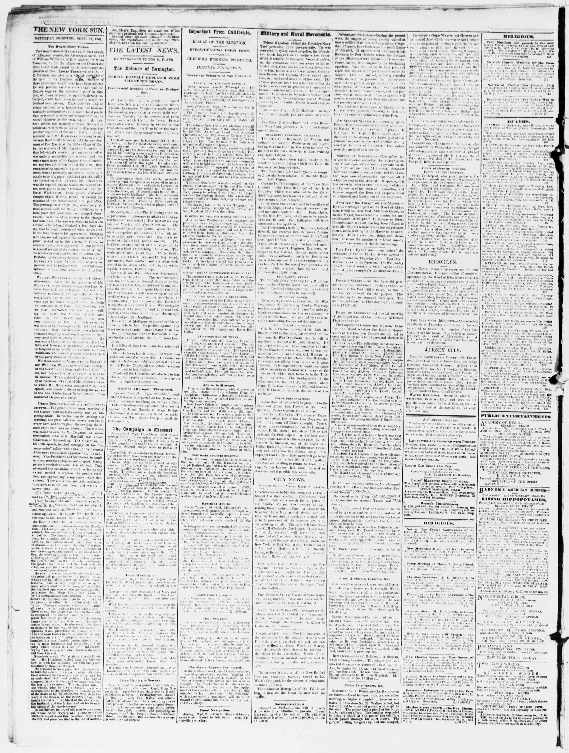 Newspaper of The Sun dated September 21, 1861 Page 2
