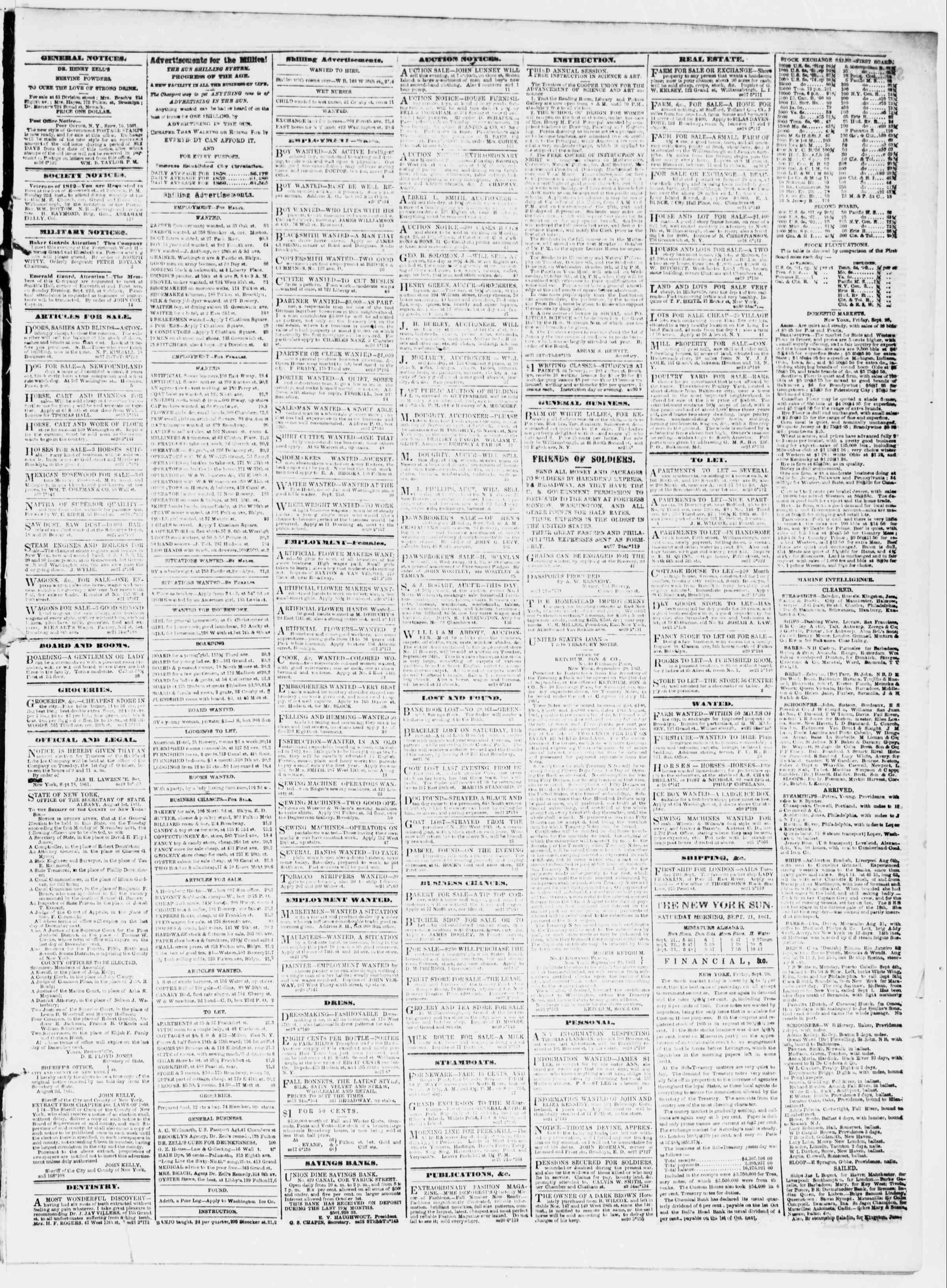 Newspaper of The Sun dated September 21, 1861 Page 3