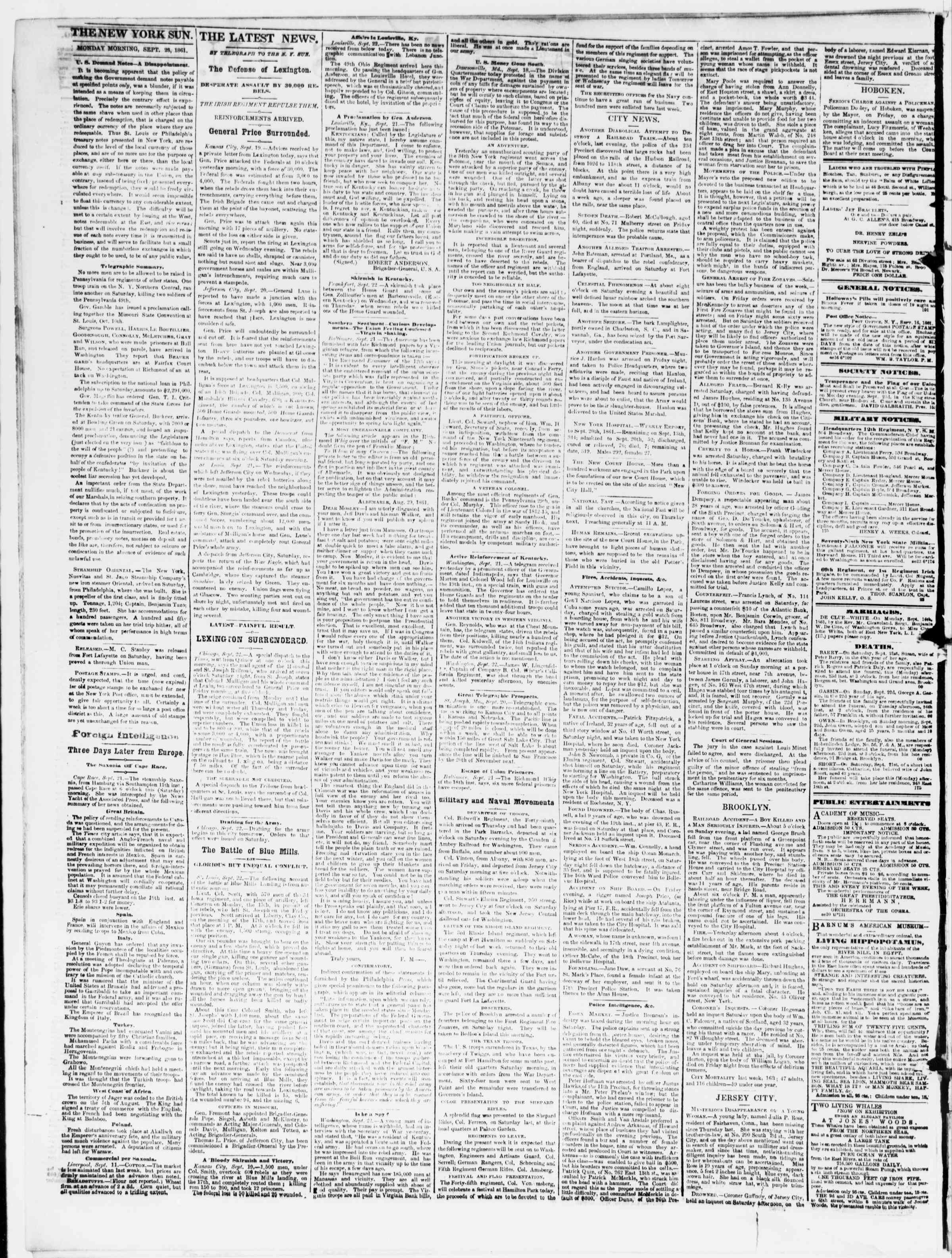 Newspaper of The Sun dated September 23, 1861 Page 2