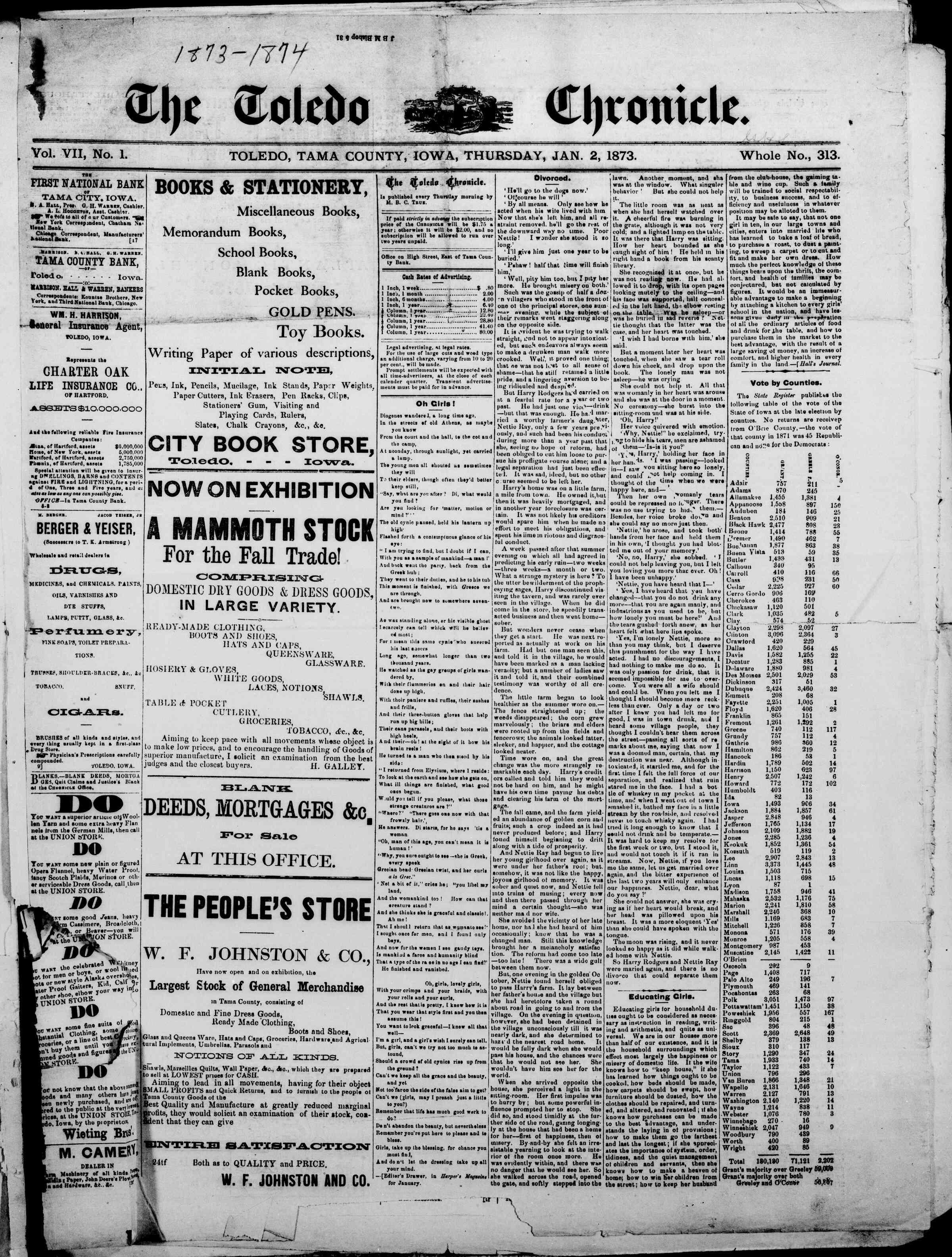 2 Ocak 1873 Tarihli The Toledo chronicle Dergisi Sayfa 1