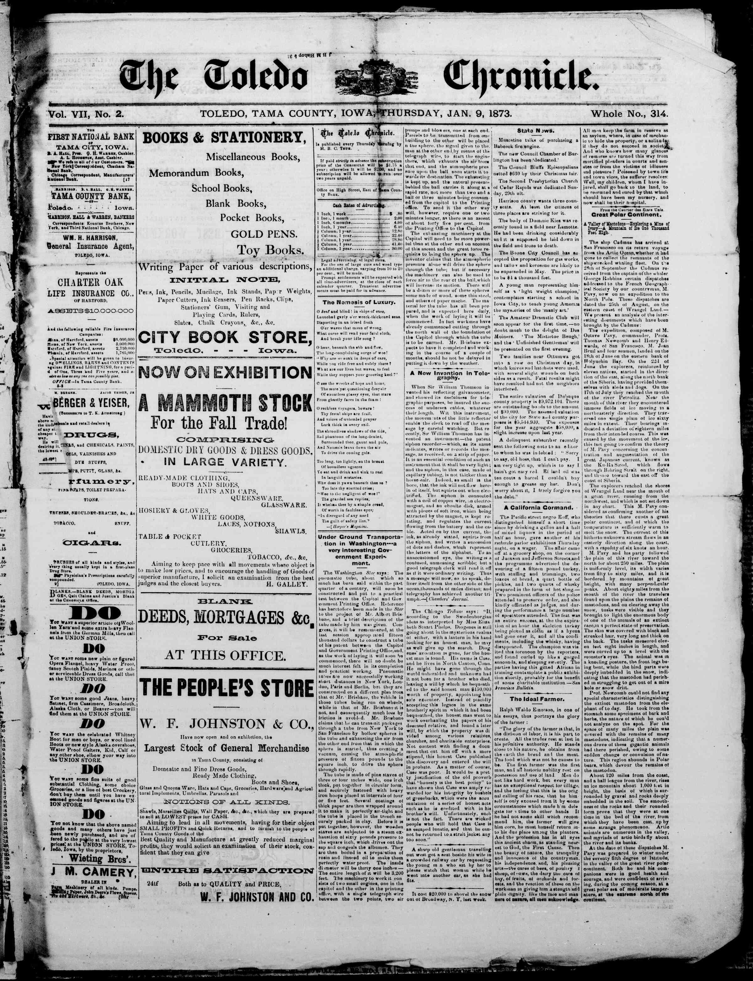 9 Ocak 1873 Tarihli The Toledo chronicle Dergisi Sayfa 1