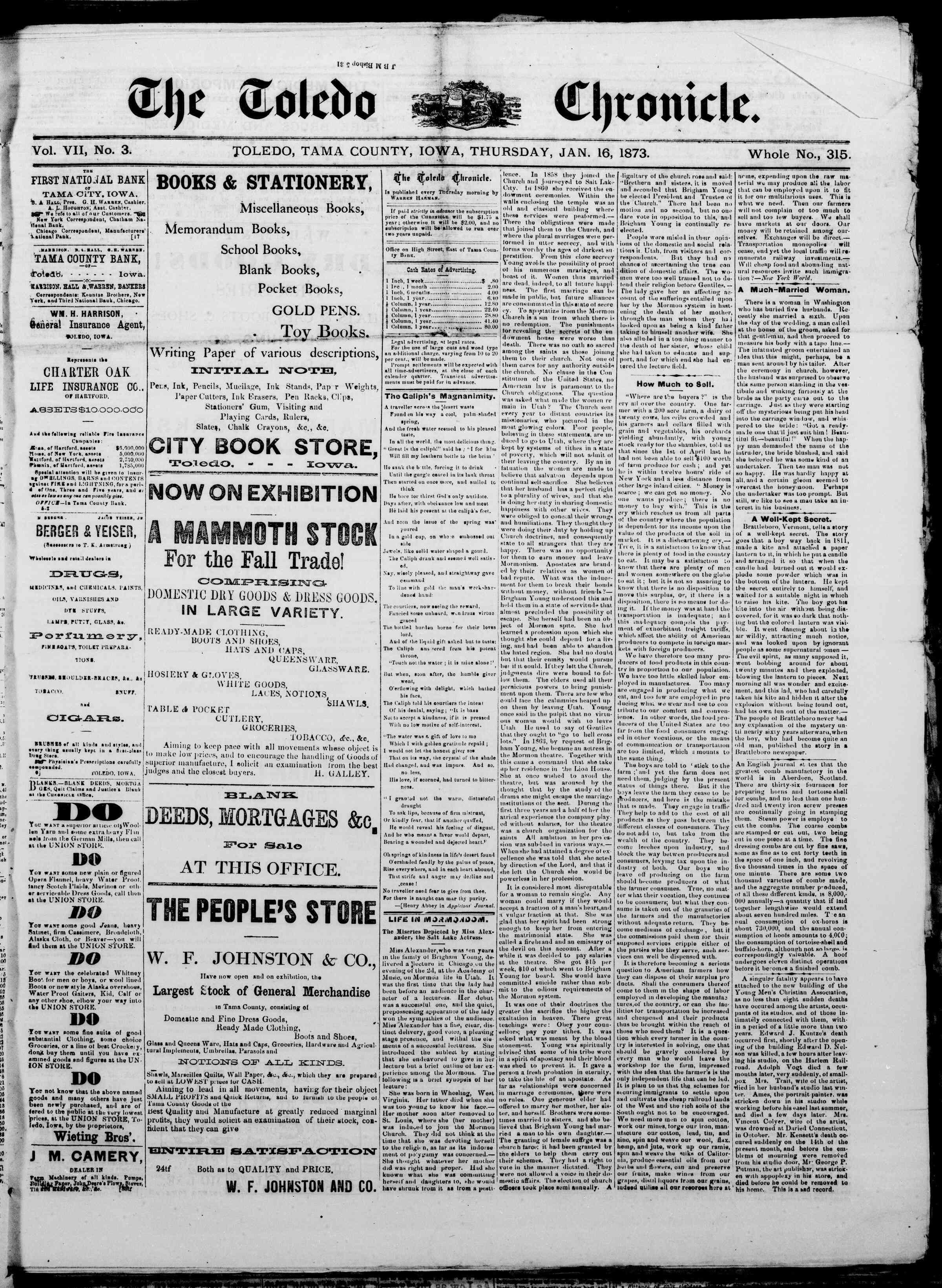 16 Ocak 1873 Tarihli The Toledo chronicle Dergisi Sayfa 1