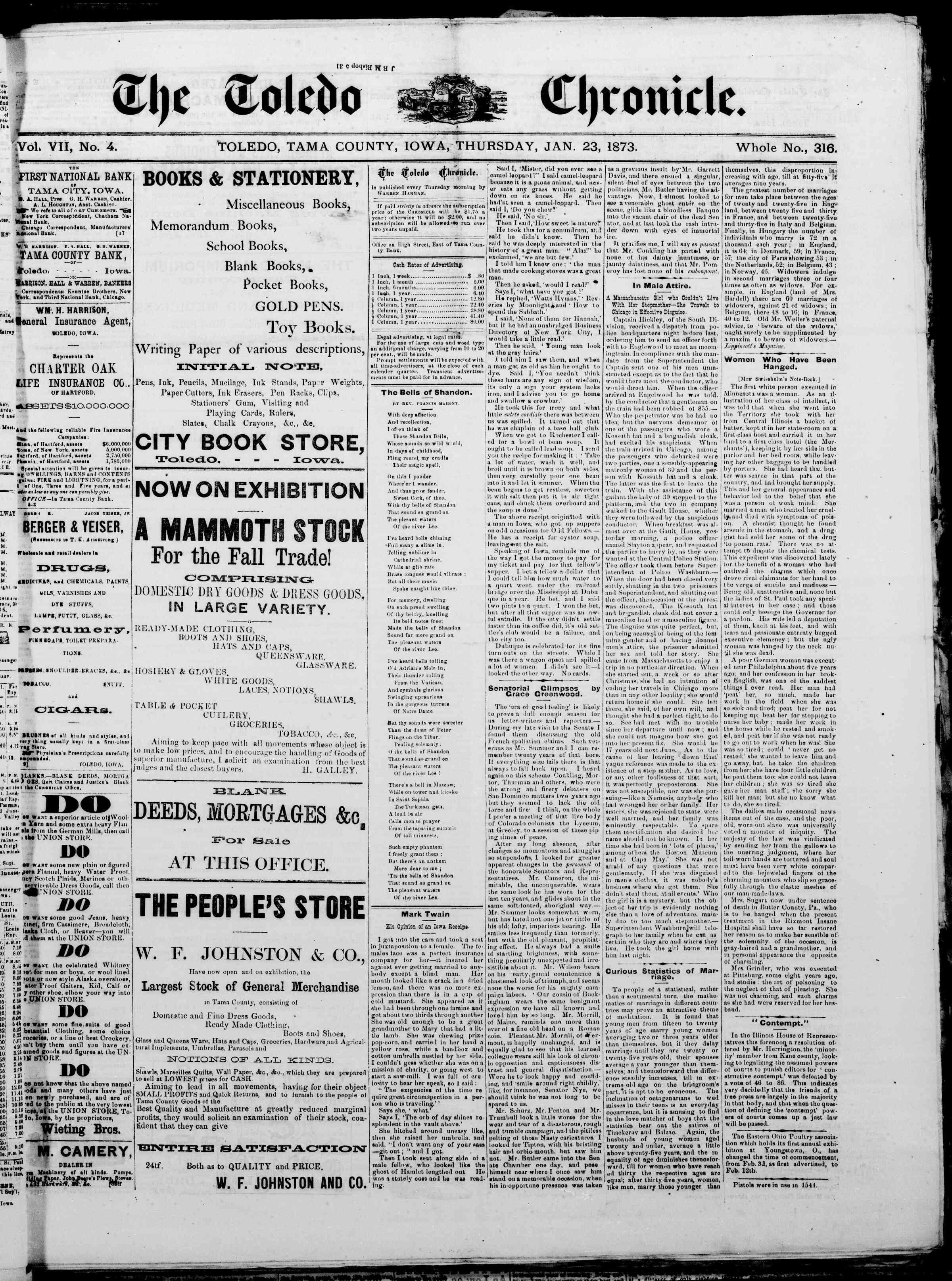 23 Ocak 1873 Tarihli The Toledo chronicle Dergisi Sayfa 1