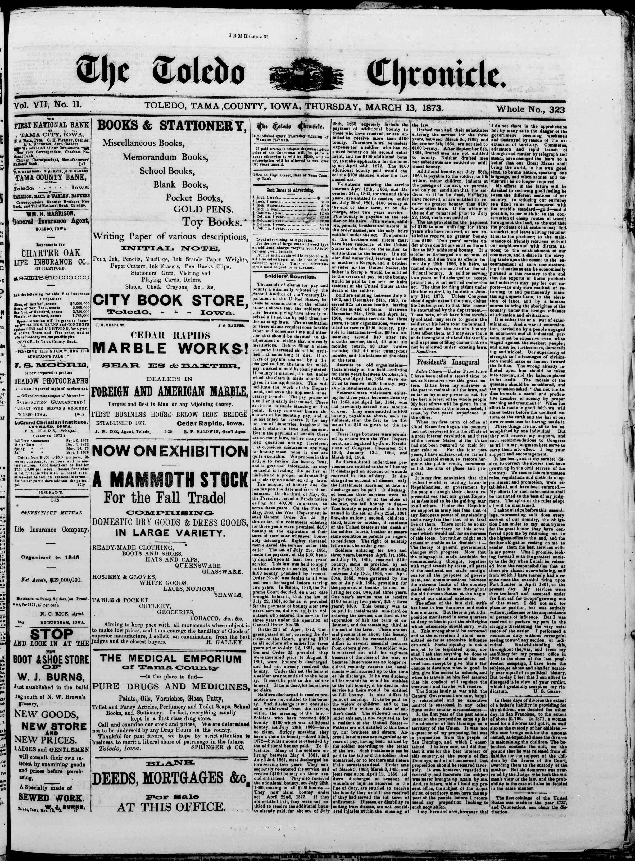 13 Mart 1873 Tarihli The Toledo chronicle Dergisi Sayfa 1