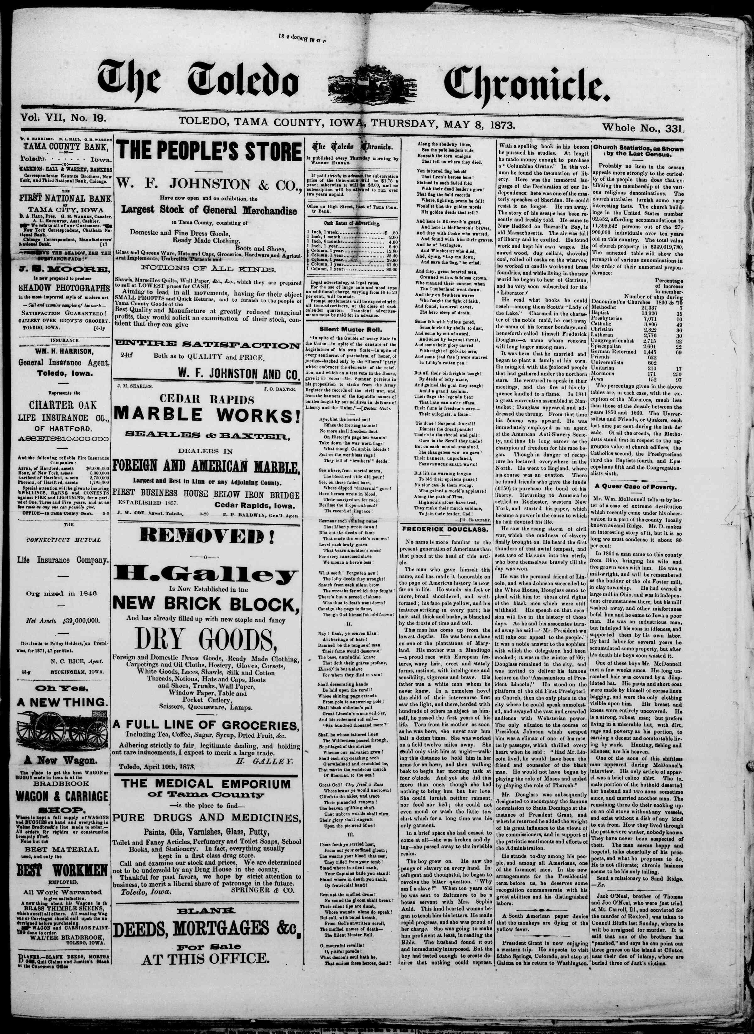 May 8, 1873 Tarihli The Toledo chronicle Dergisi Sayfa 1
