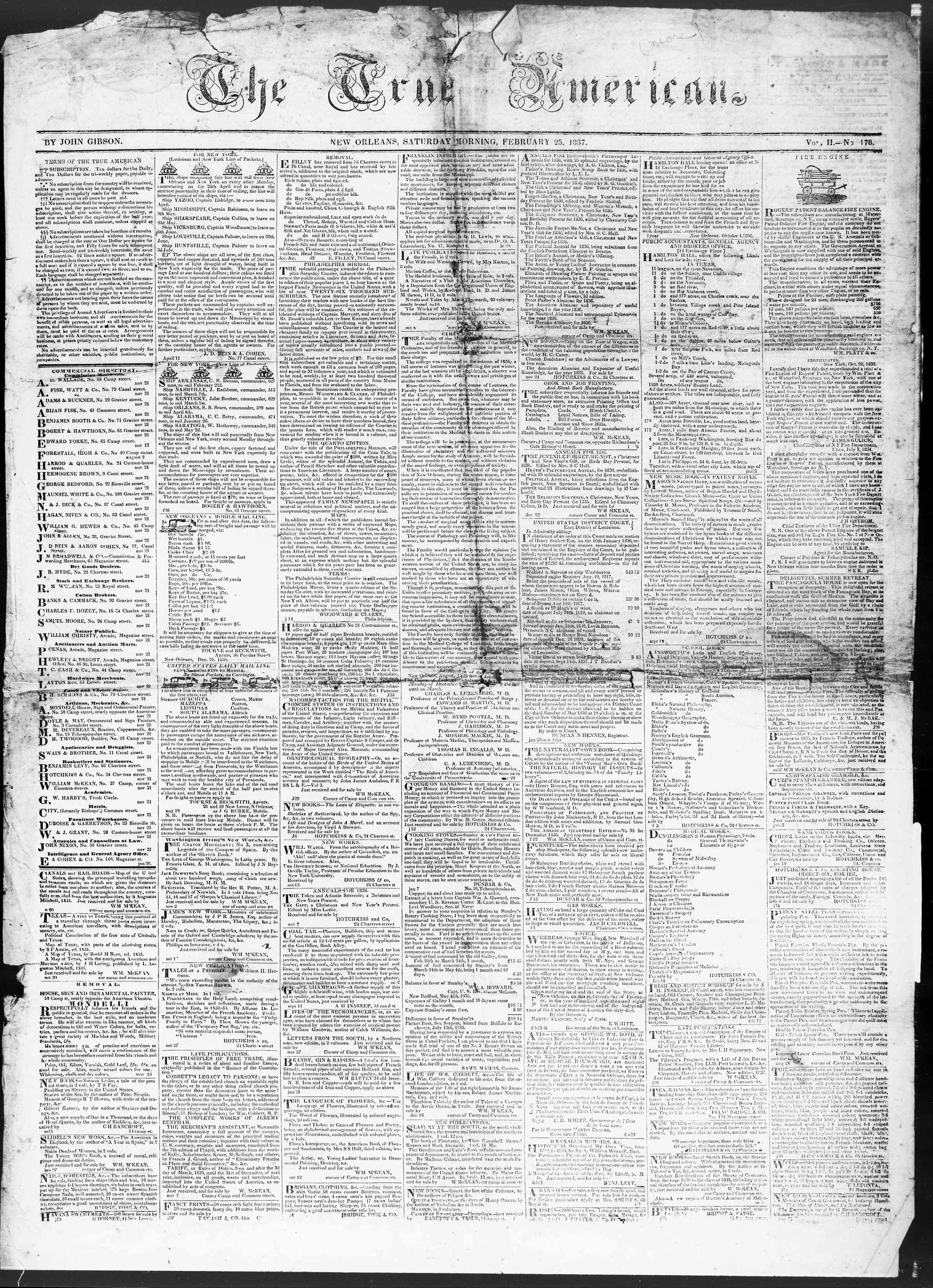 February 25, 1837 Tarihli True American Gazetesi Sayfa 1
