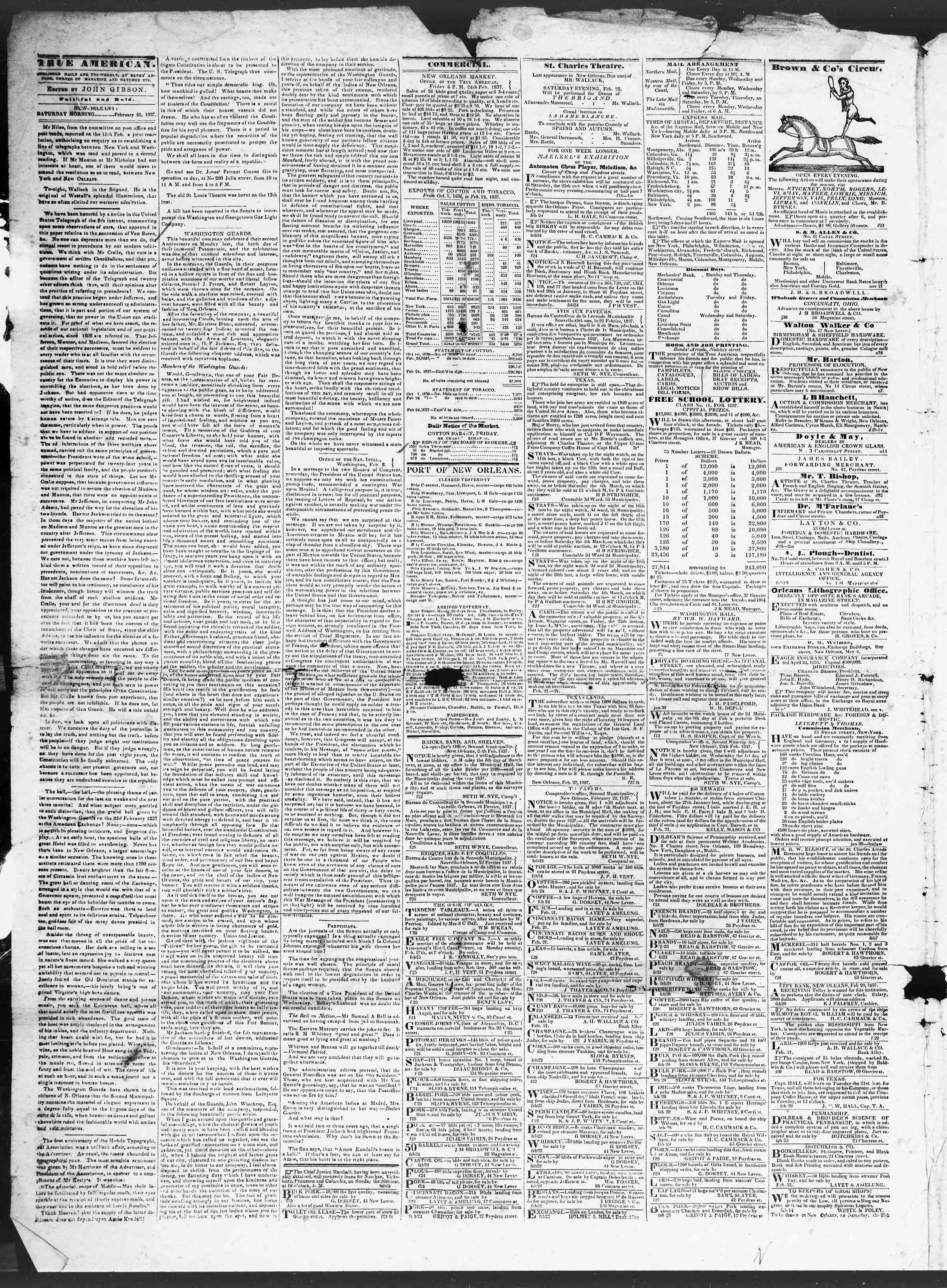 25 Şubat 1837 Tarihli True American Gazetesi Sayfa 2