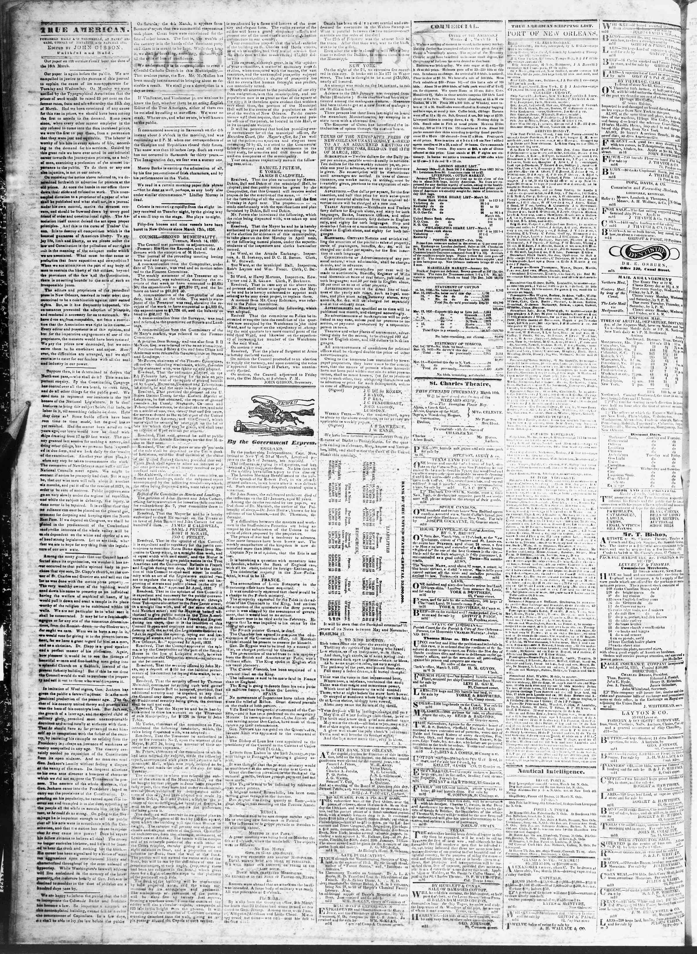 14 Mart 1837 Tarihli True American Gazetesi Sayfa 2