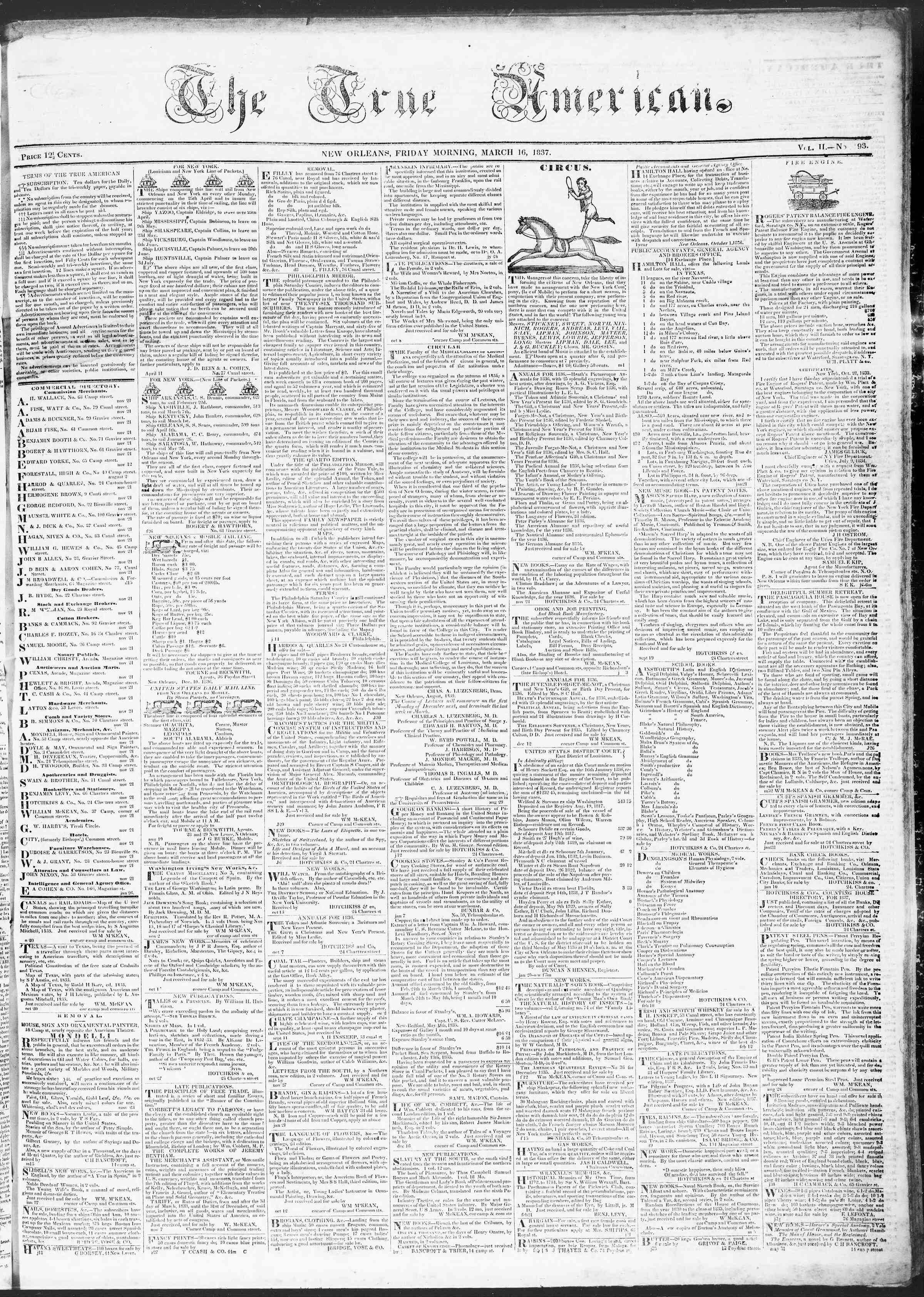 March 17, 1837 Tarihli True American Gazetesi Sayfa 1