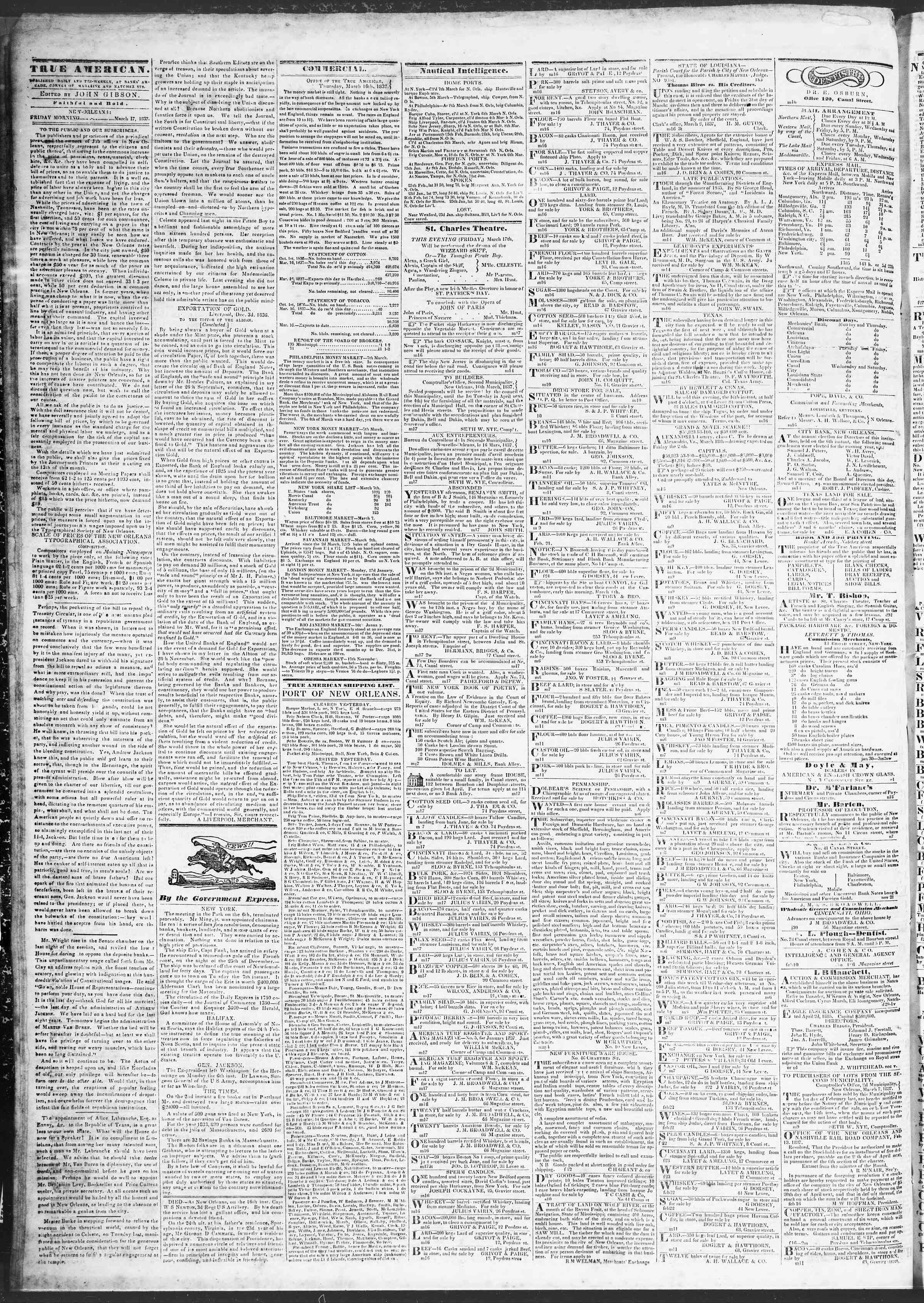 Newspaper of True American dated March 17, 1837 Page 2