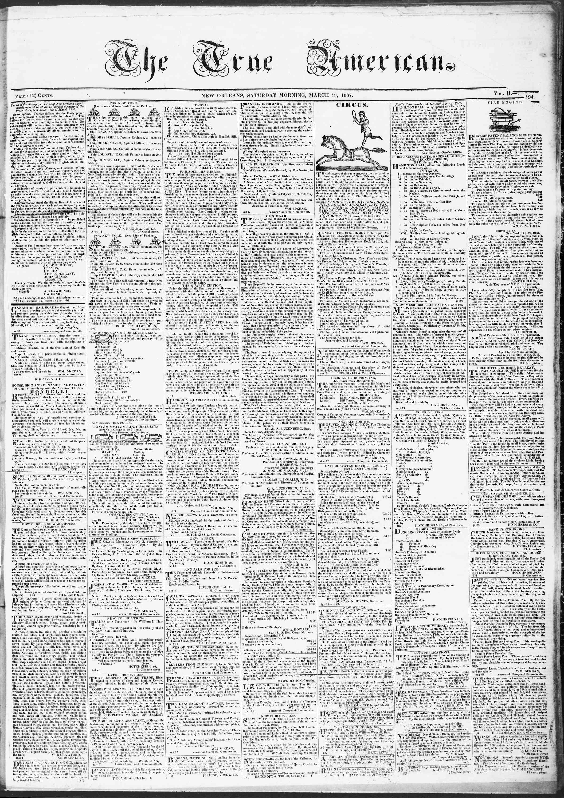 March 18, 1837 Tarihli True American Gazetesi Sayfa 1