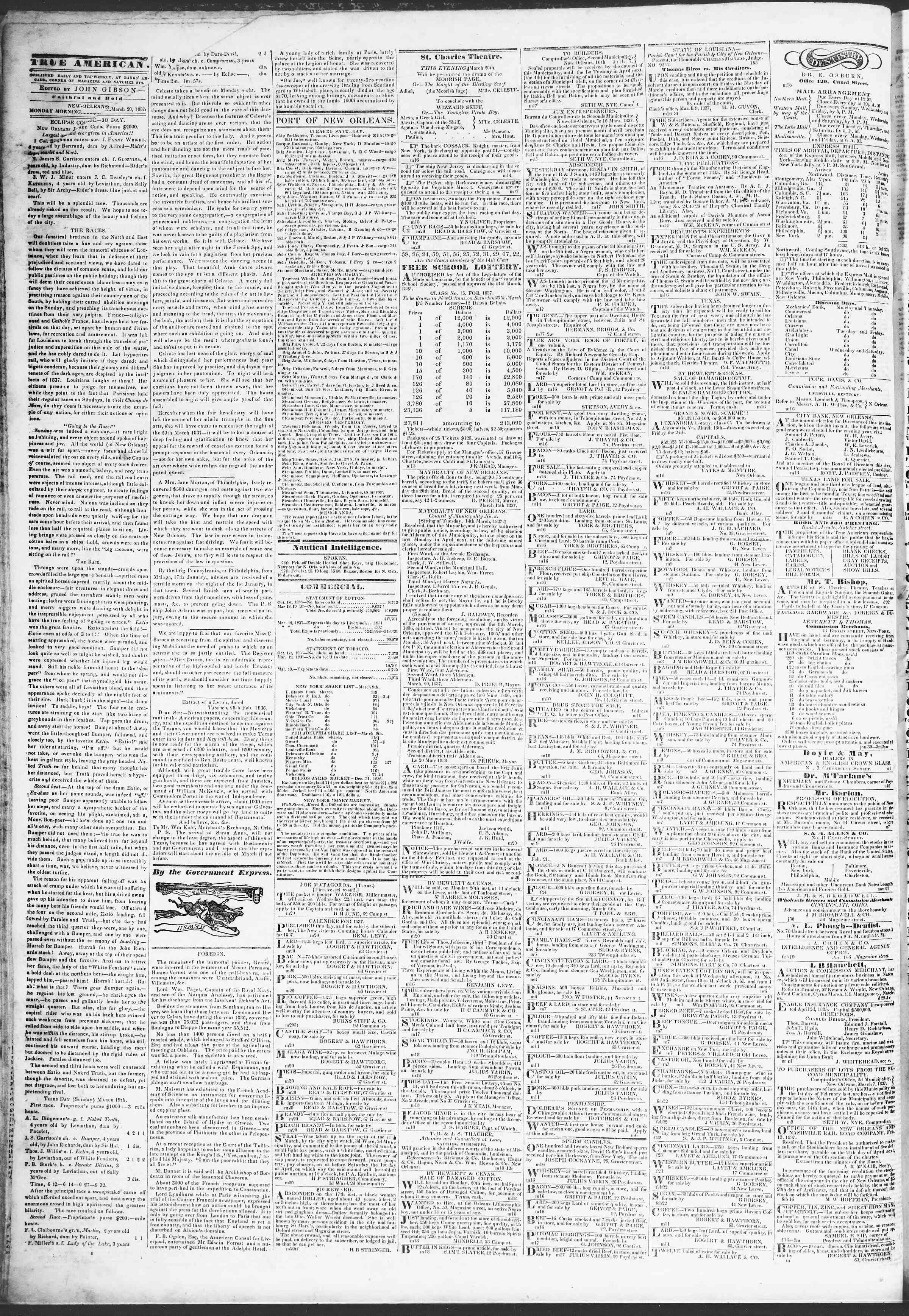 March 20, 1837 Tarihli True American Gazetesi Sayfa 2