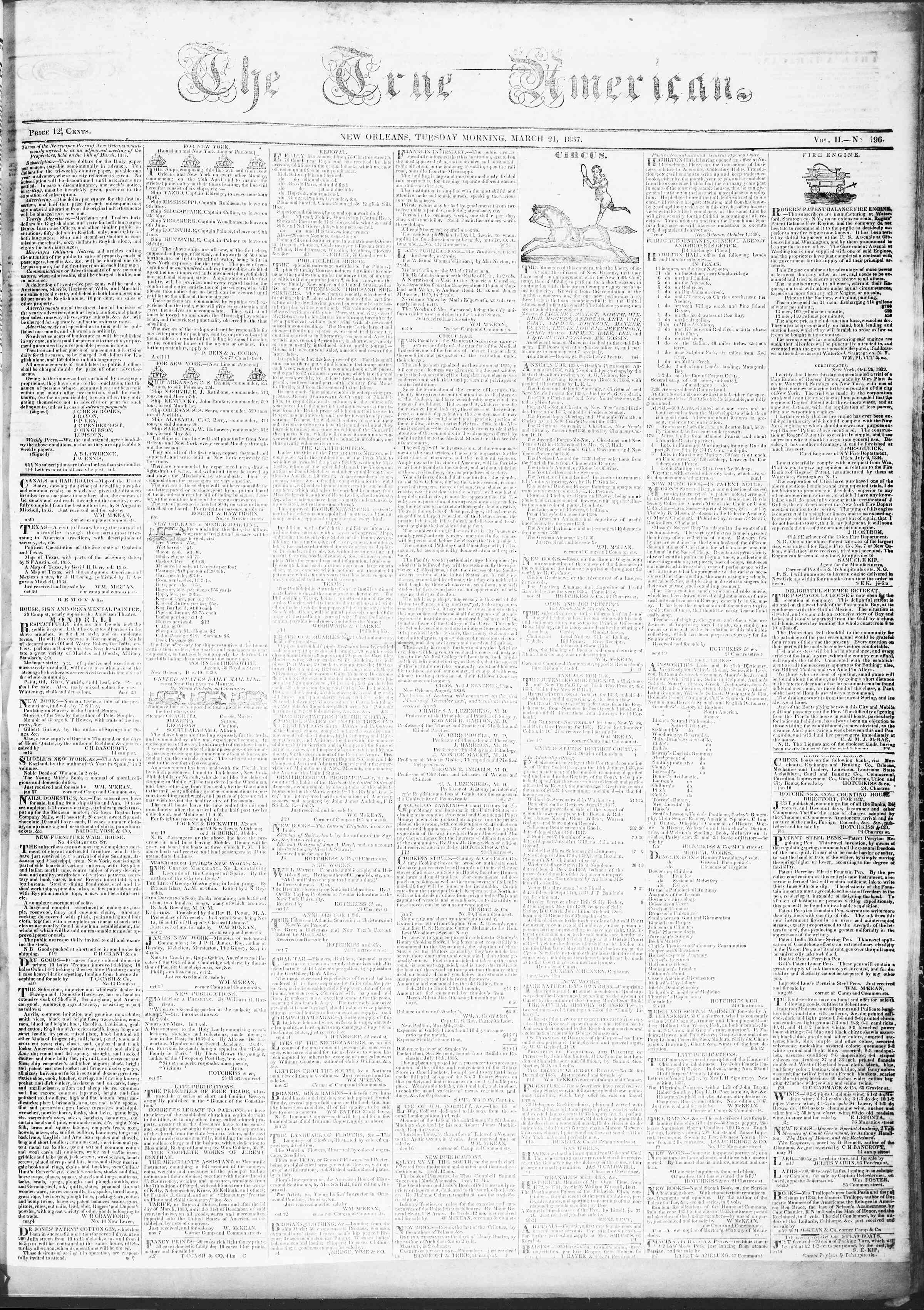 March 21, 1837 Tarihli True American Gazetesi Sayfa 1
