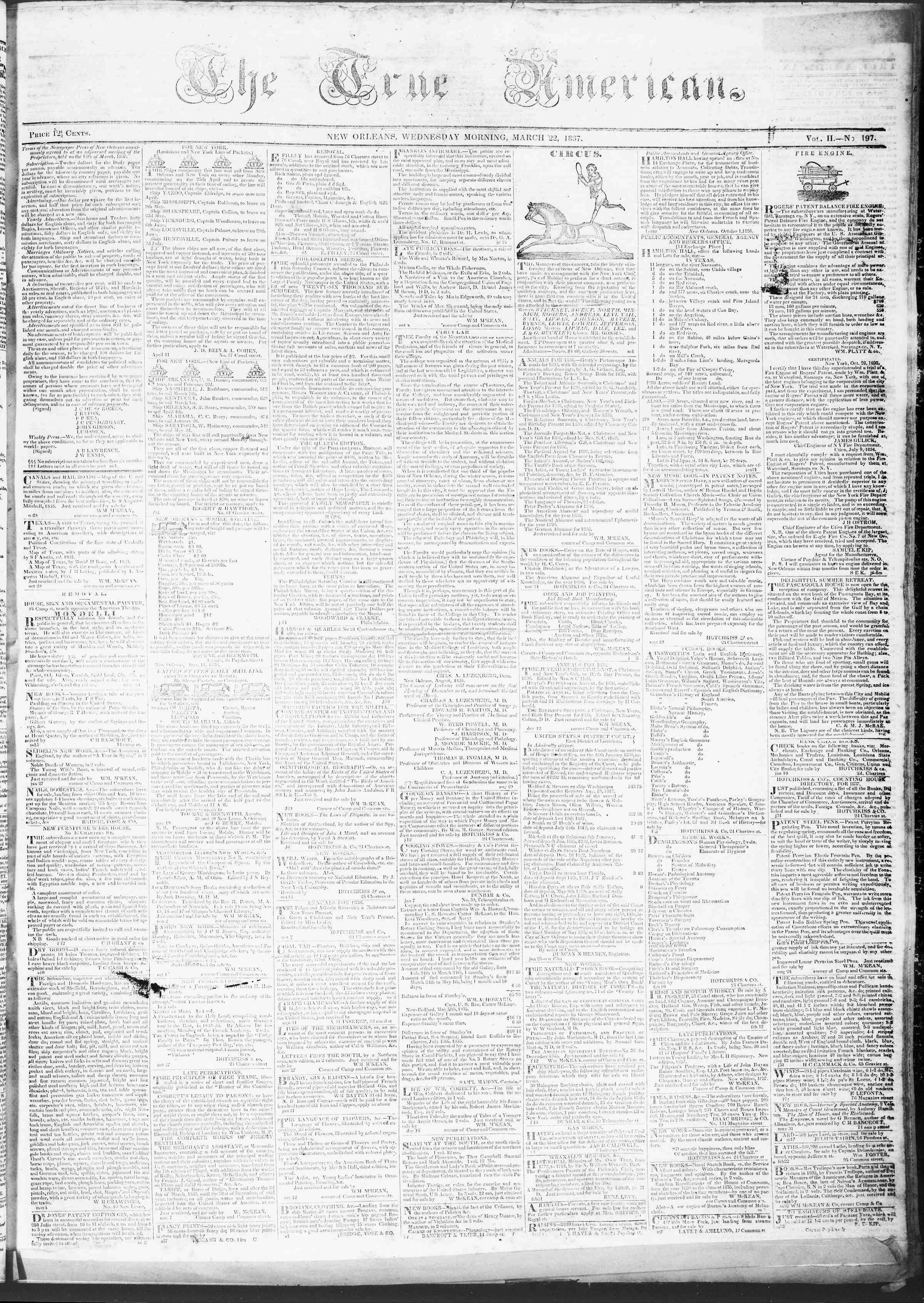 March 22, 1837 Tarihli True American Gazetesi Sayfa 1