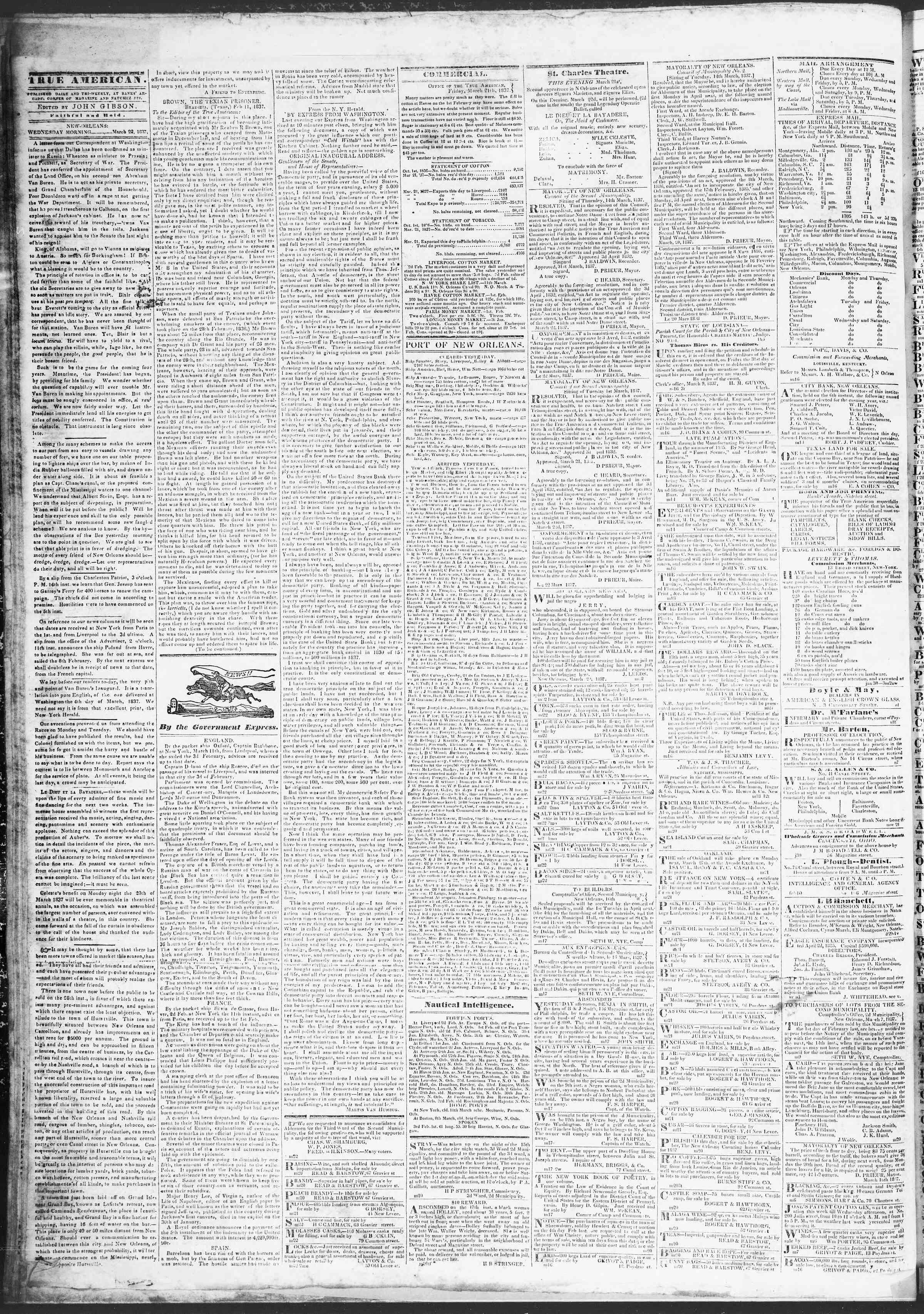 March 22, 1837 Tarihli True American Gazetesi Sayfa 2