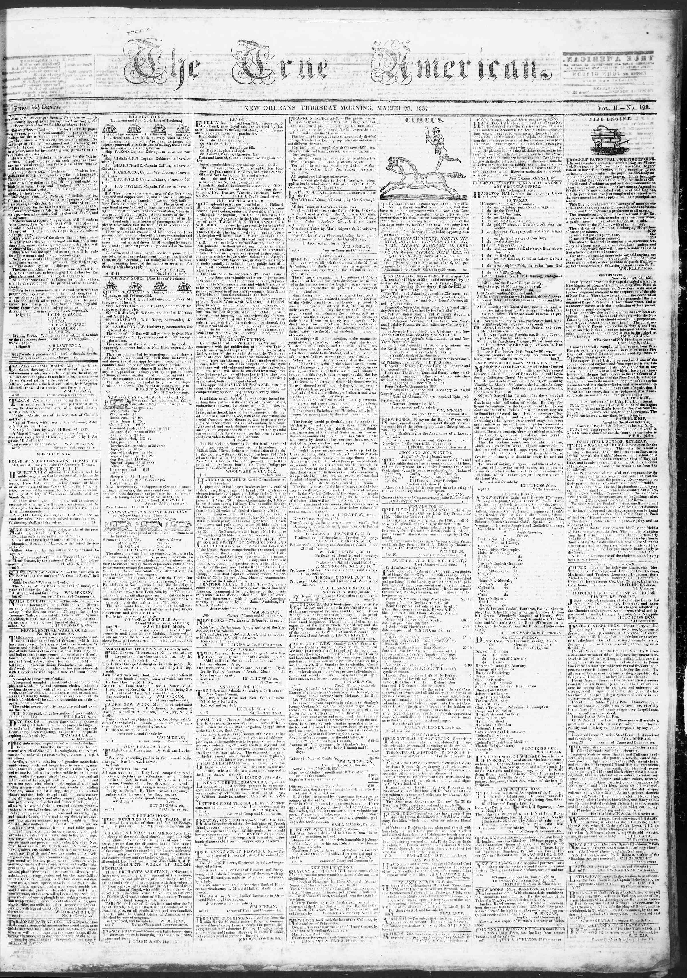 Newspaper of True American dated March 23, 1837 Page 1