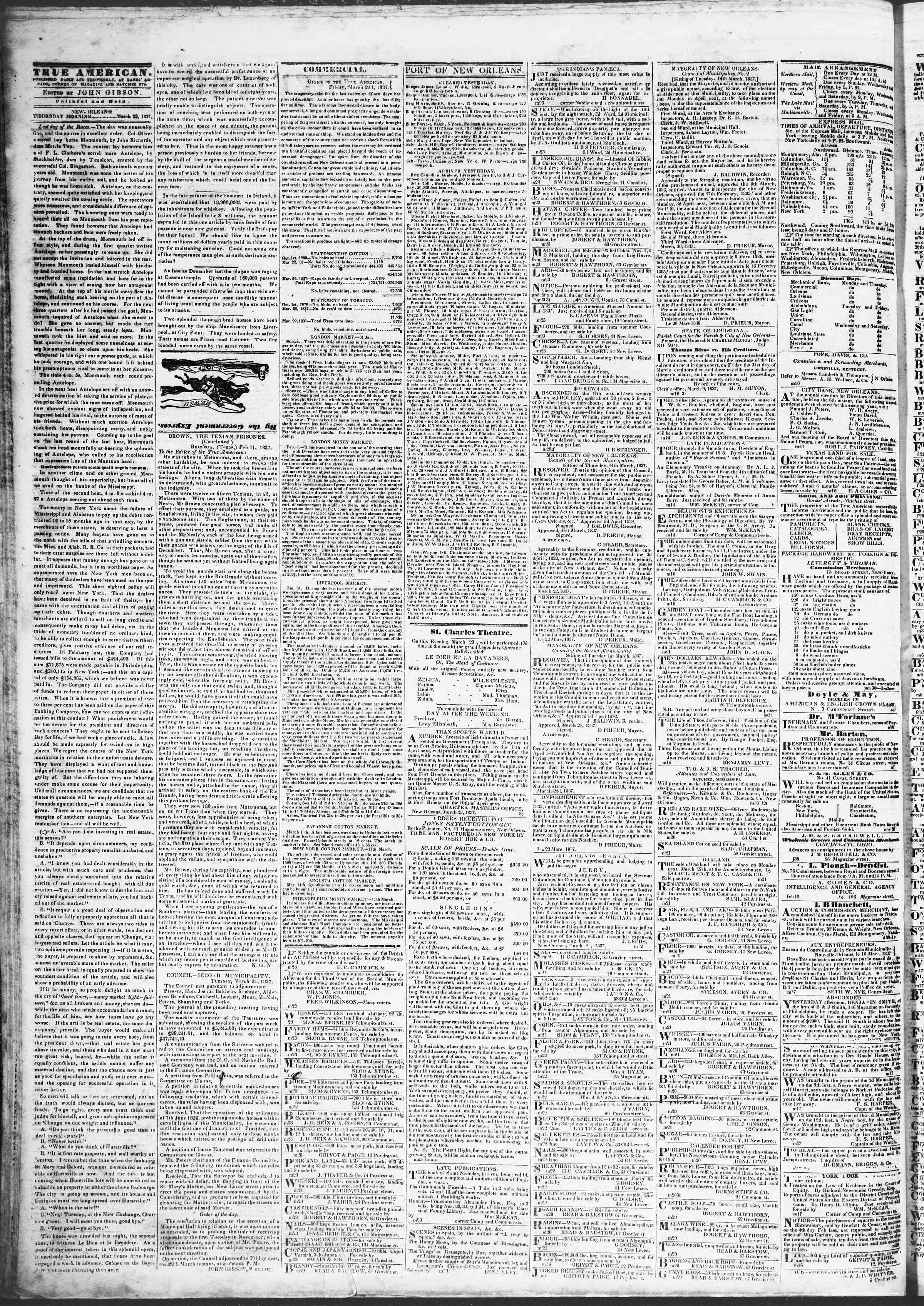 Newspaper of True American dated March 23, 1837 Page 2
