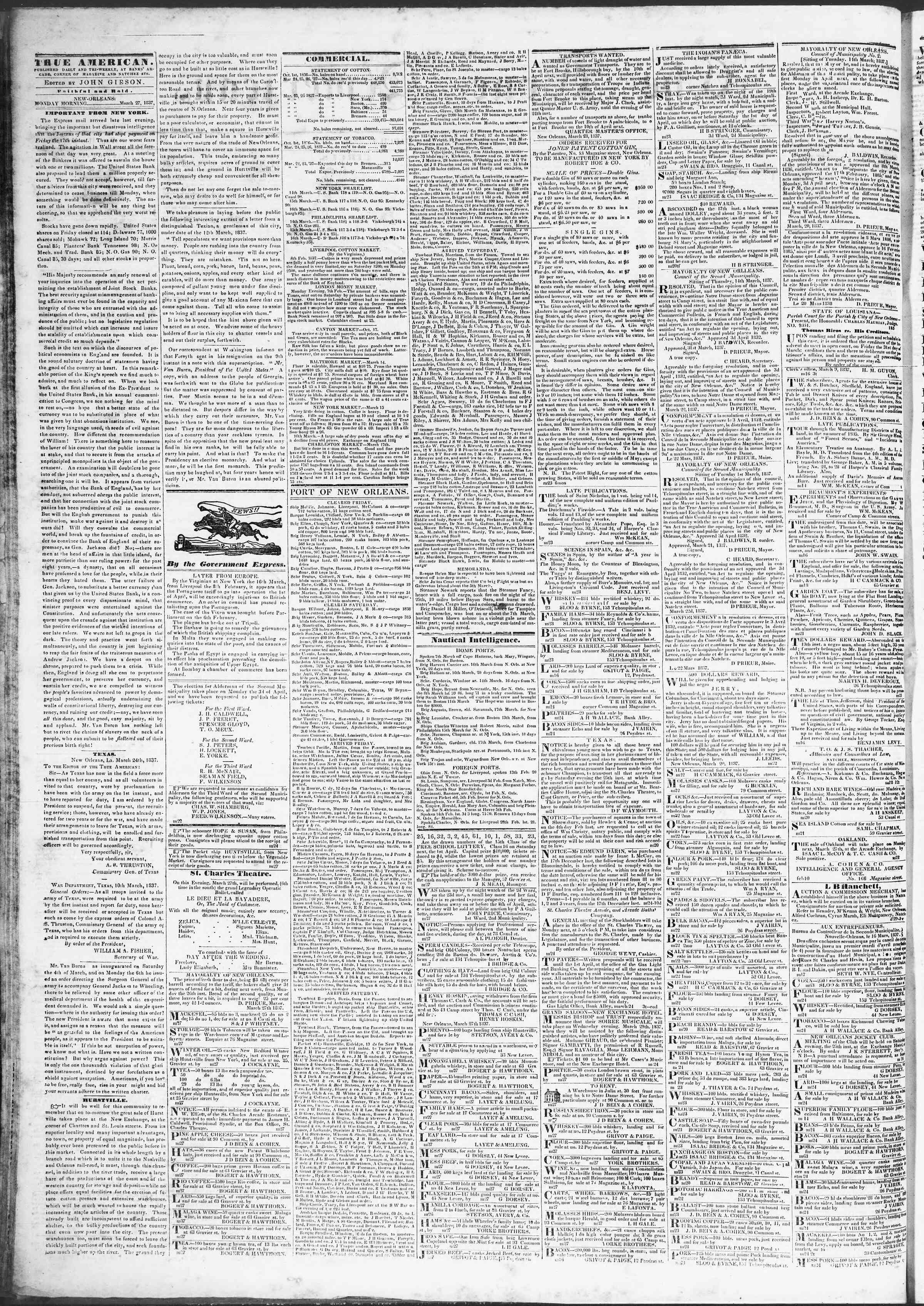 27 Mart 1837 Tarihli True American Gazetesi Sayfa 2