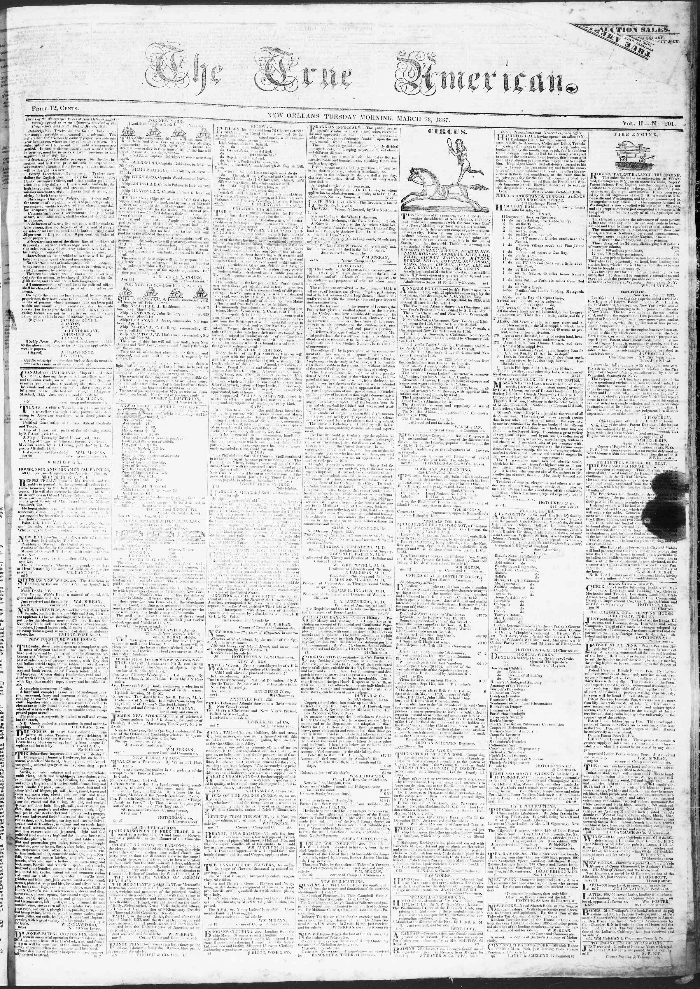 March 28, 1837 Tarihli True American Gazetesi Sayfa 1