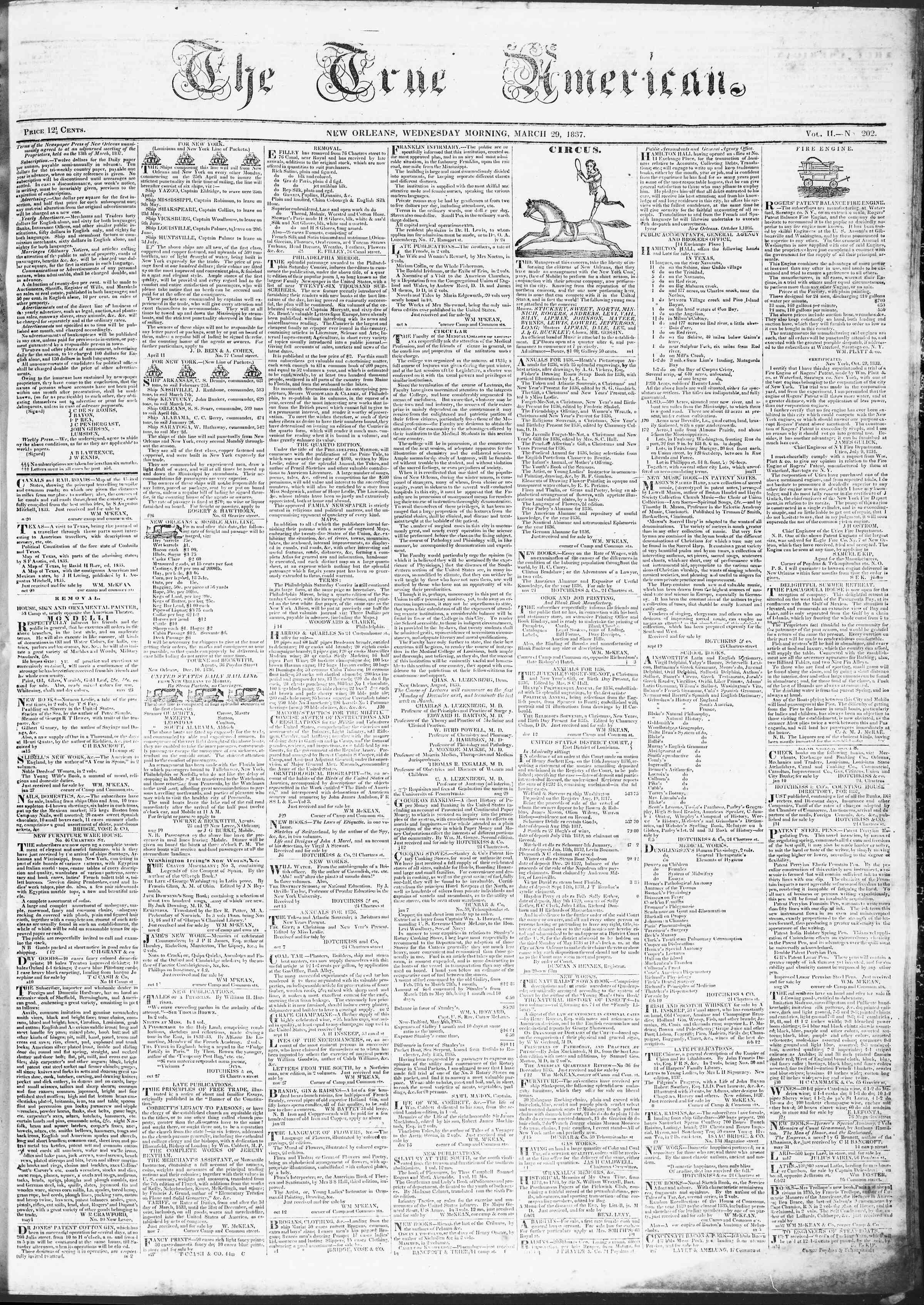 29 Mart 1837 Tarihli True American Gazetesi Sayfa 1