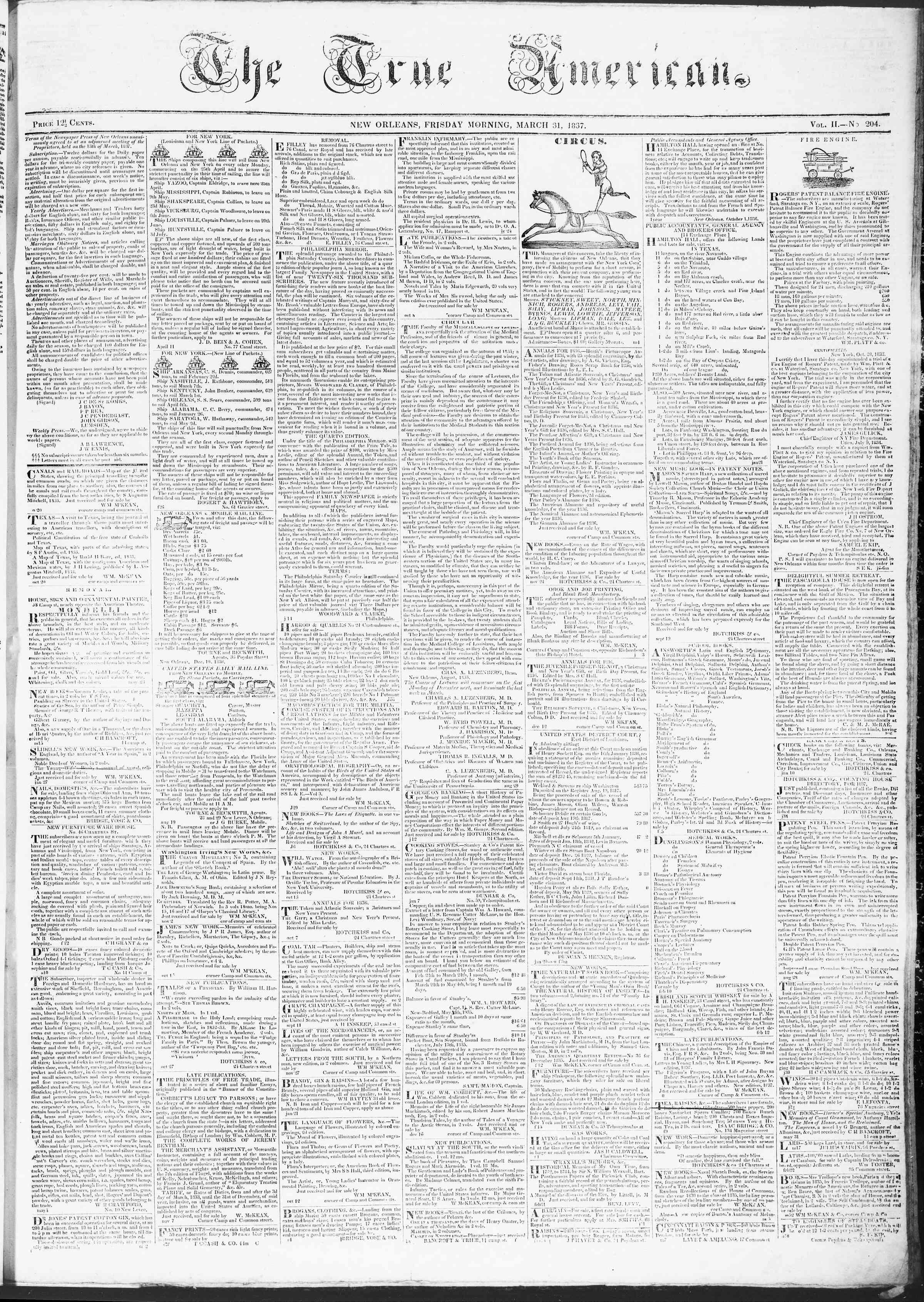 March 31, 1837 Tarihli True American Gazetesi Sayfa 1